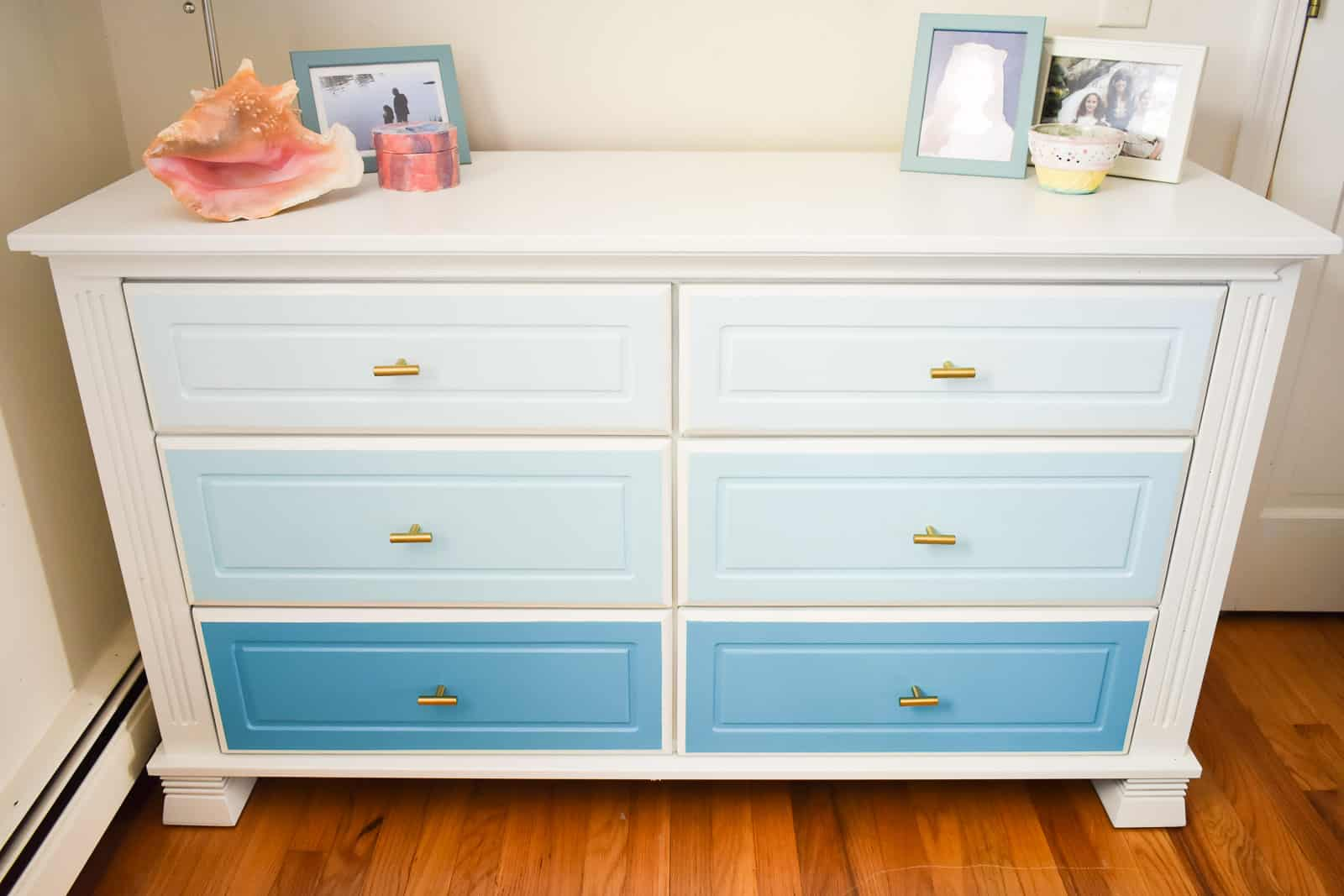 repainted ombre dresser using a finish max paint sprayer