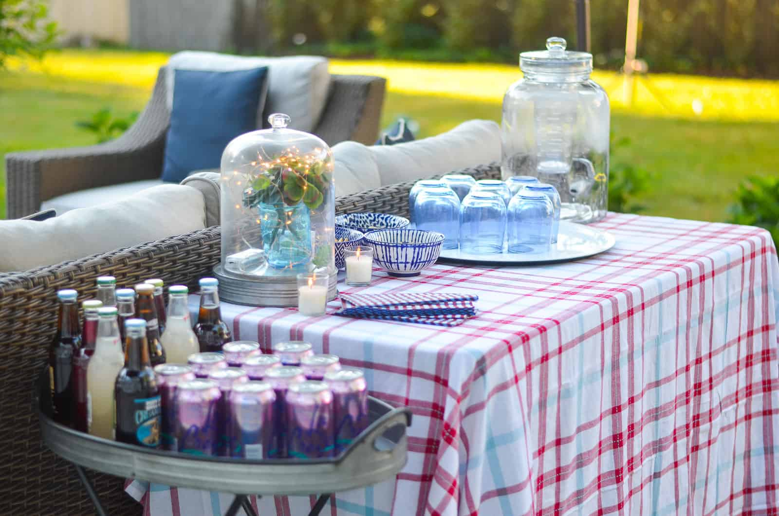 decorating the backyard for a casual summer party