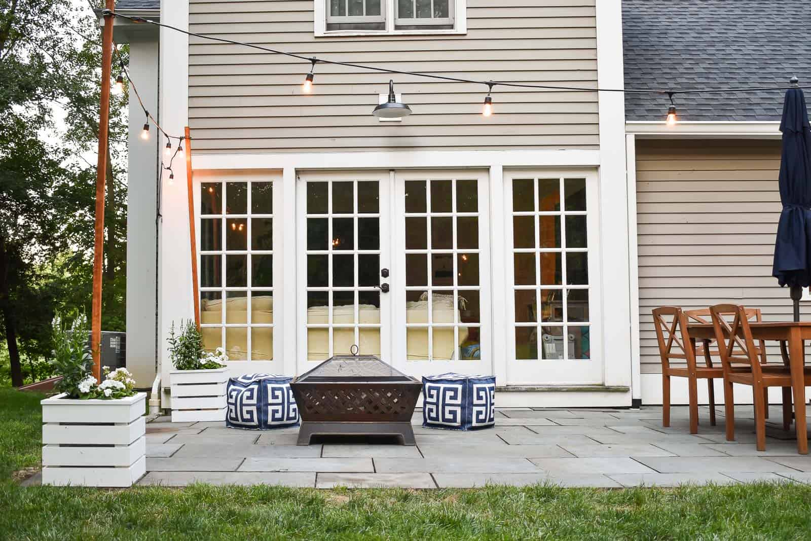 patio planters with clean flagstones