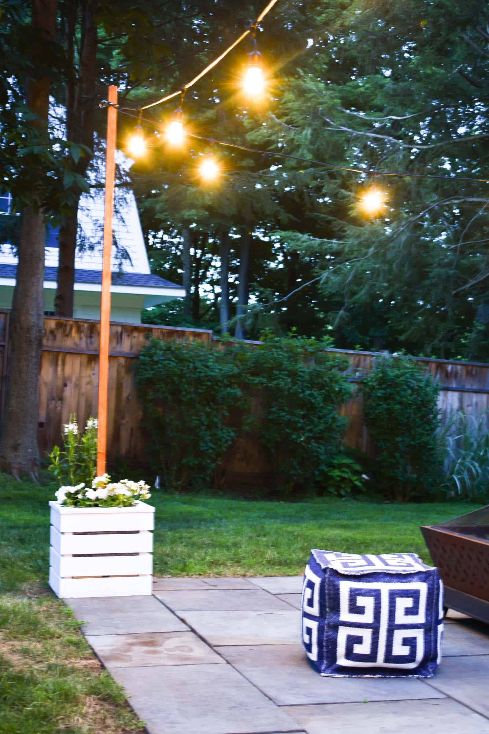 Diy Planter With Pole For String Lights At Charlotte S House