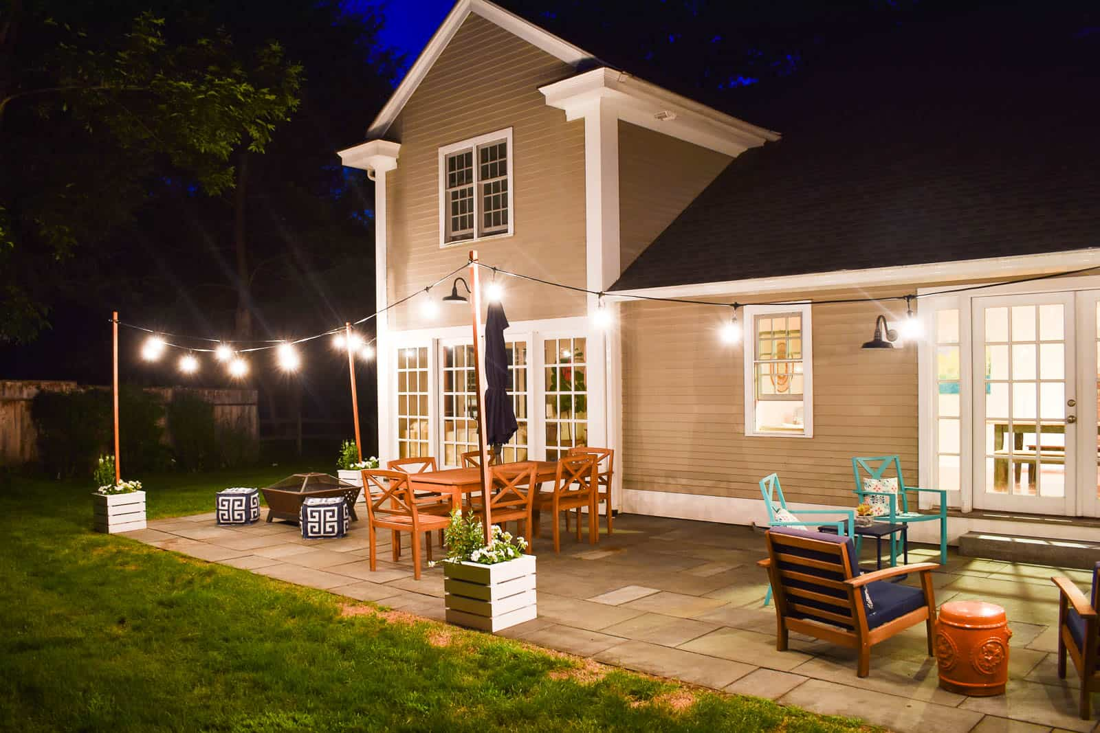 wooden planters with built in pole for patio string lights