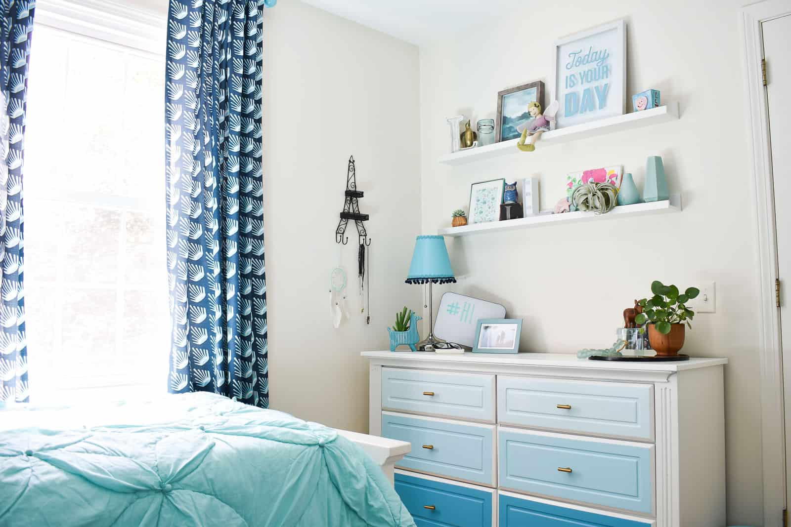 girls blue bedroom makeover