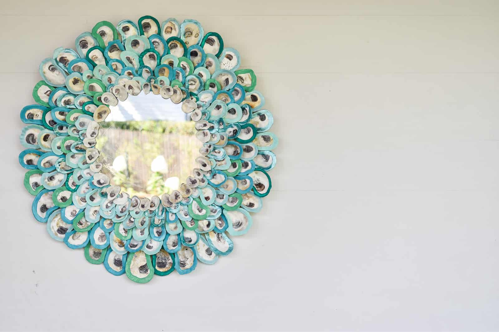 colorful oyster shell mirror