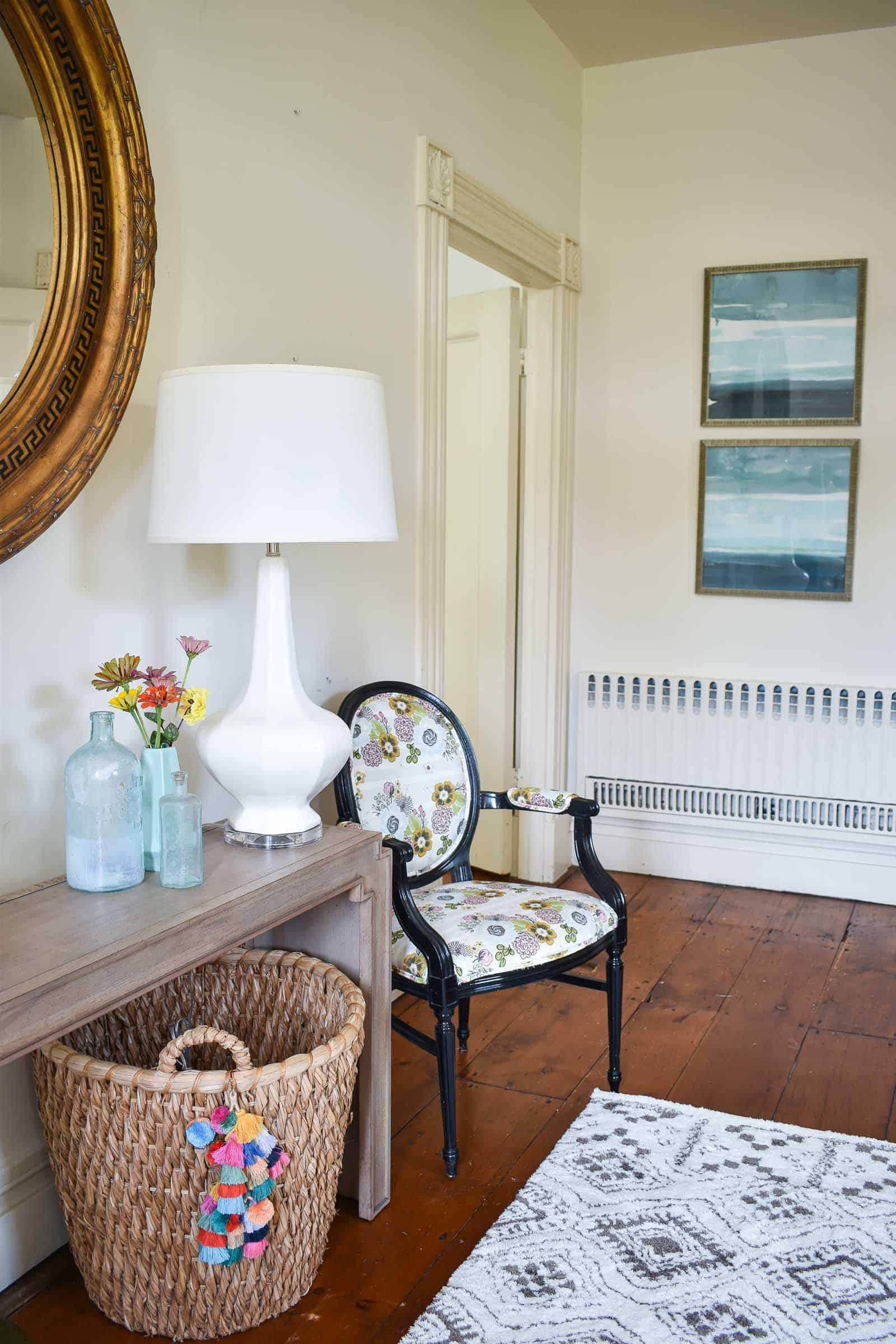 new artwork in foyer from Bassett furniture