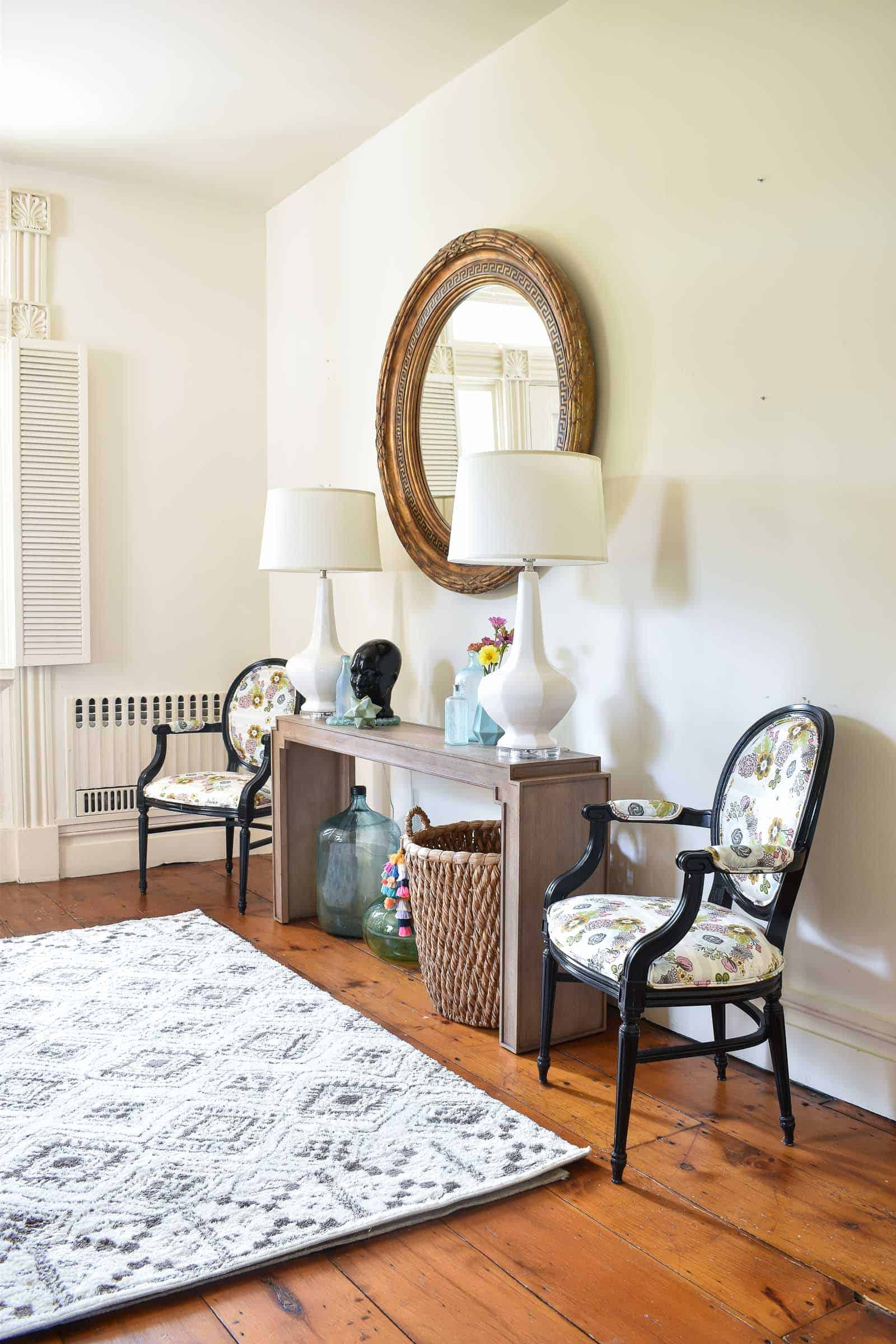 redesigned foyer space with bassett furniture