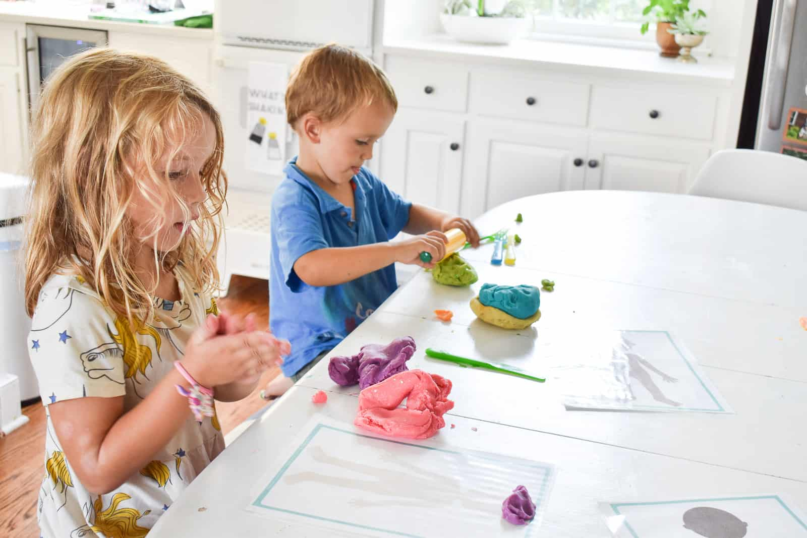enjoying our quick and easy play dough recipe