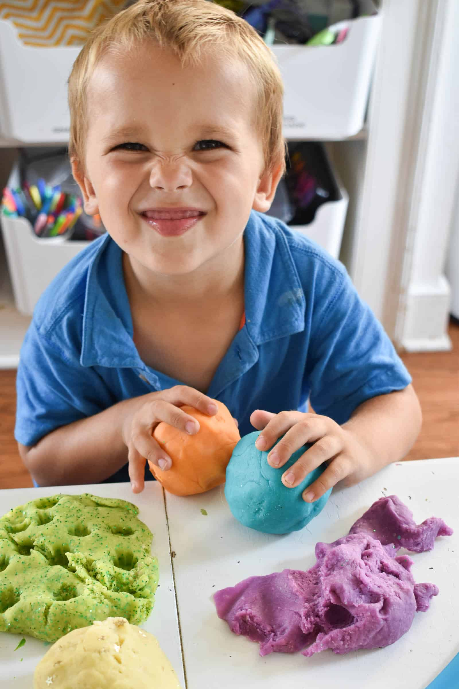 playing with play dough
