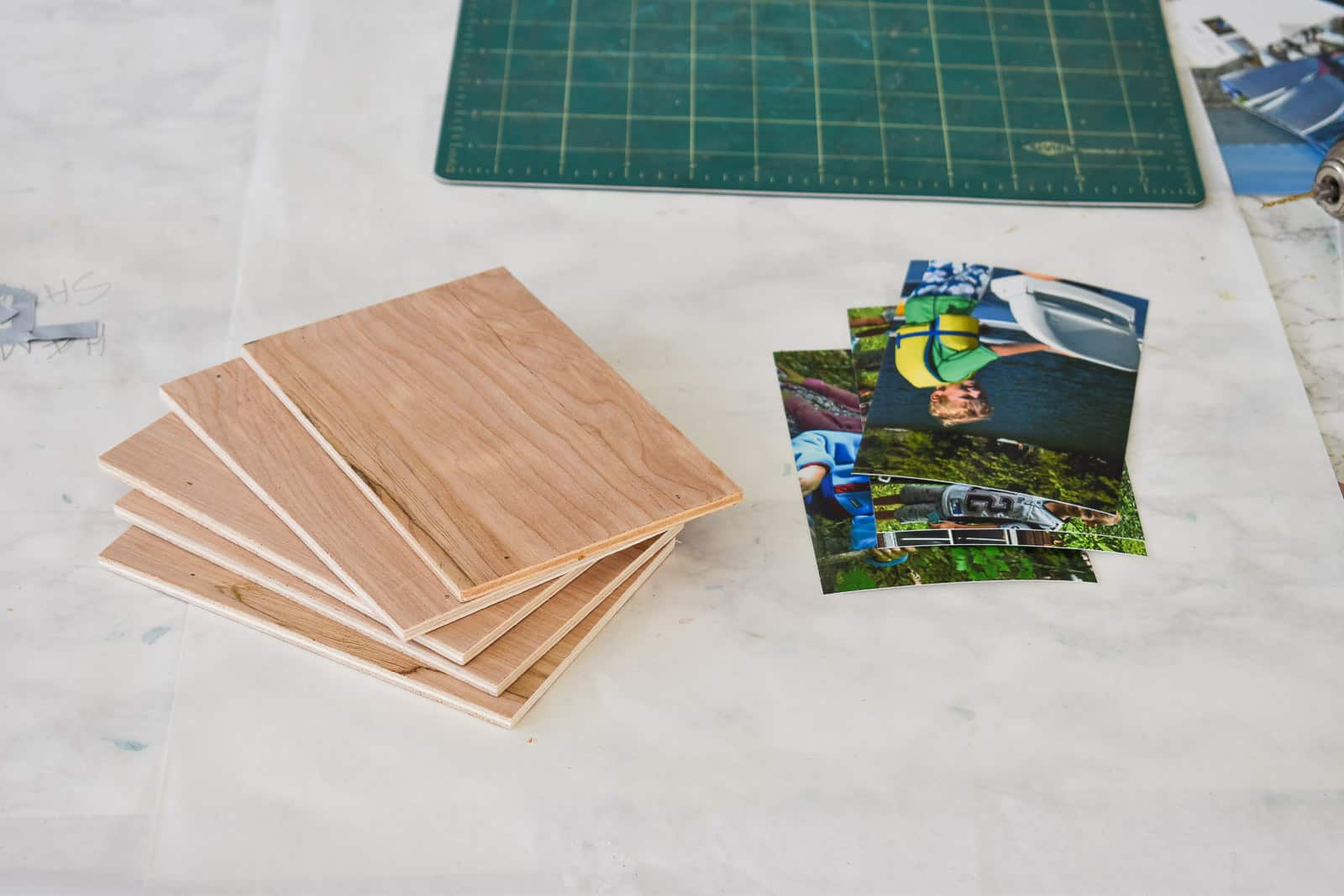 cut wood for photo backing