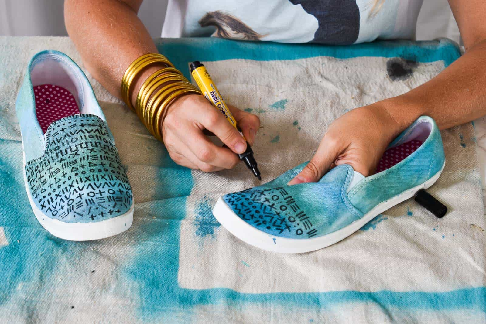 add pattern to shoes with fabric marker