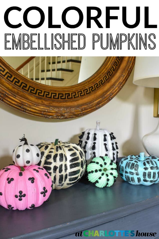 black decorated pumpkins