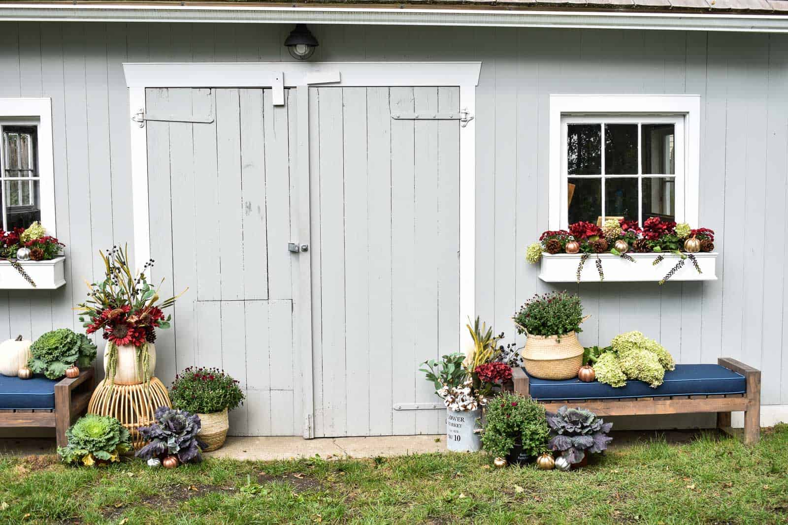 fall decor for backyard shed