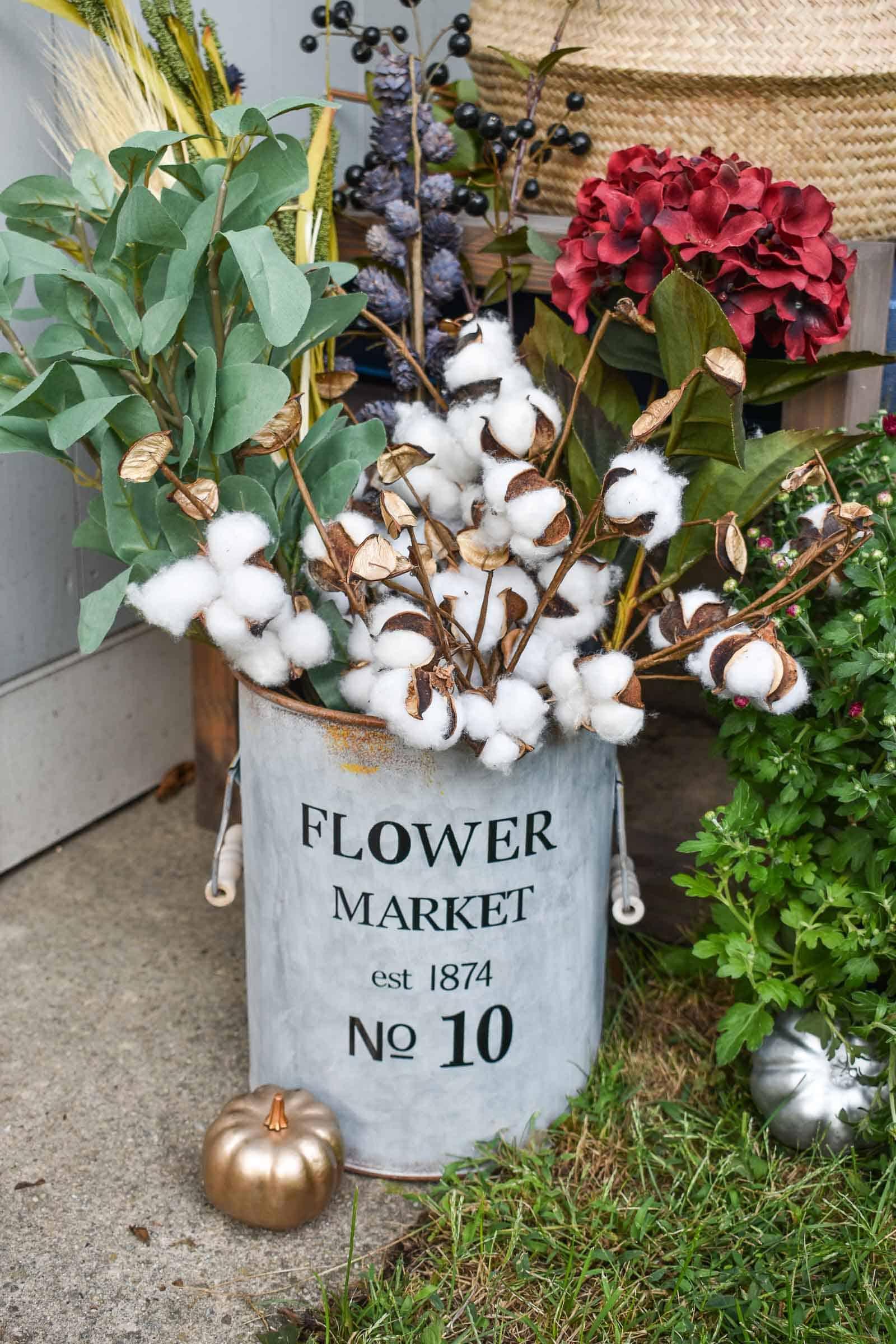 metal flower market bin