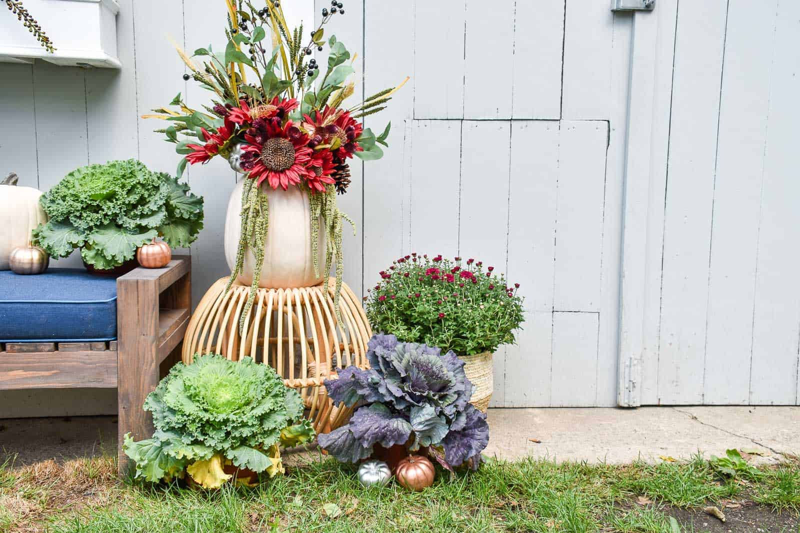 mums and cabbages around fall arrangement