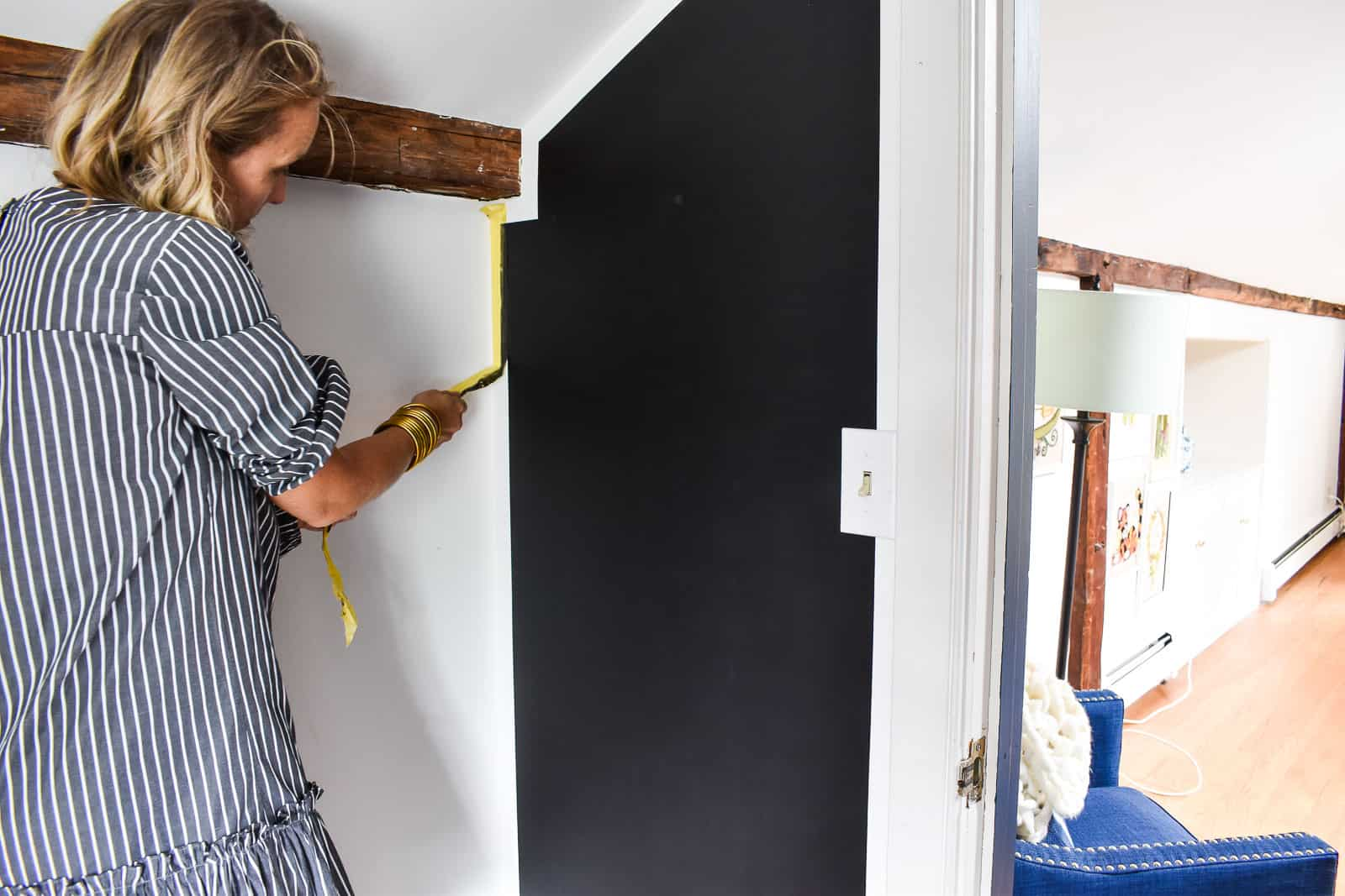 removing the tape on chalkboard wall