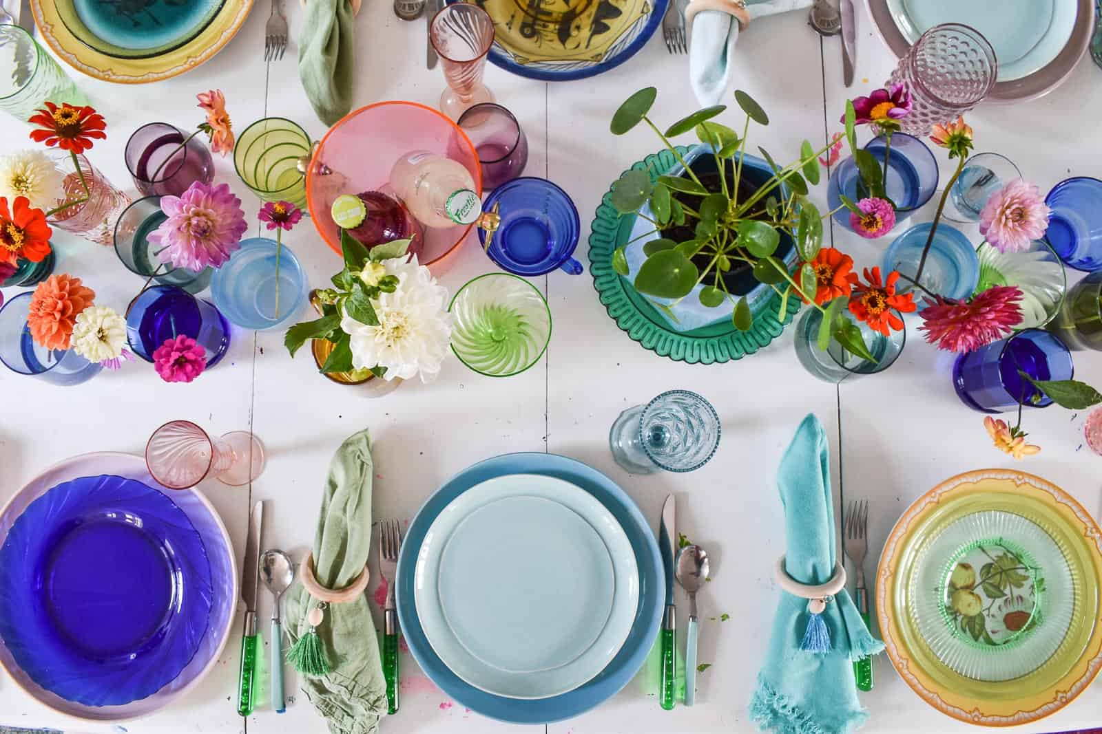 Colorful glass table setting