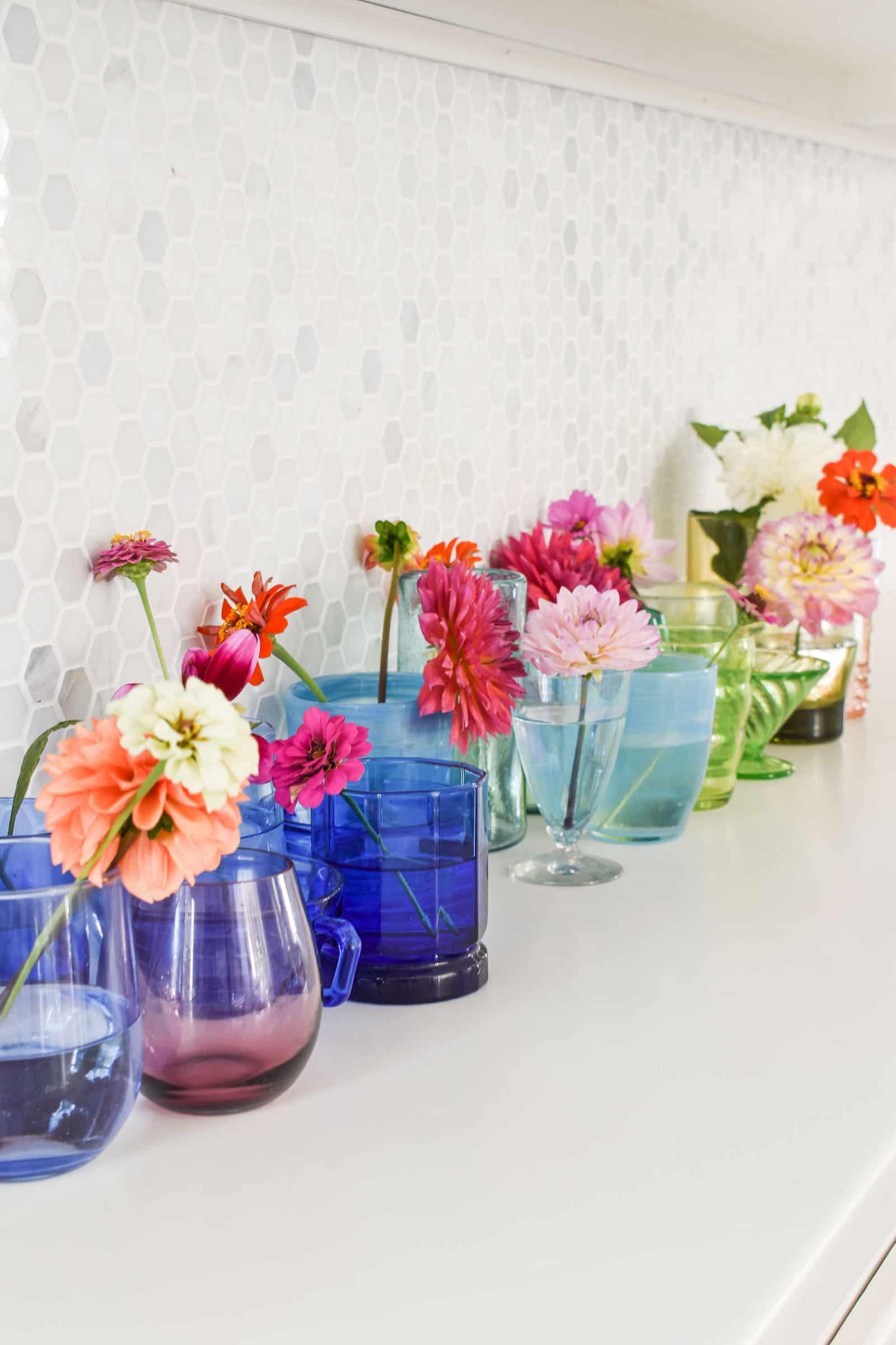 assorted rainbow glassware