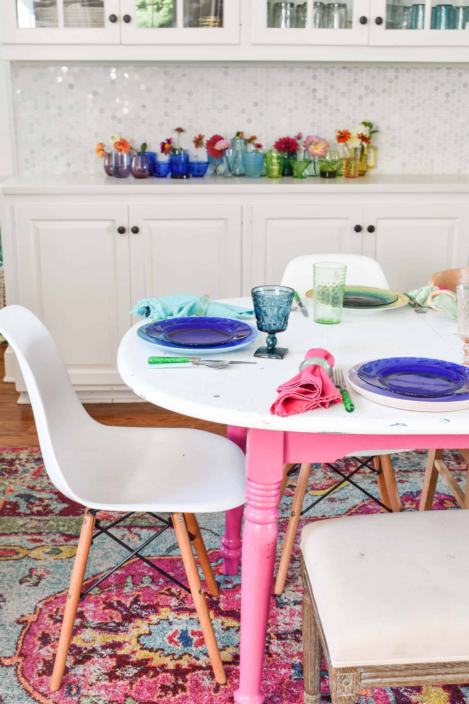 colorful rainbow table scape