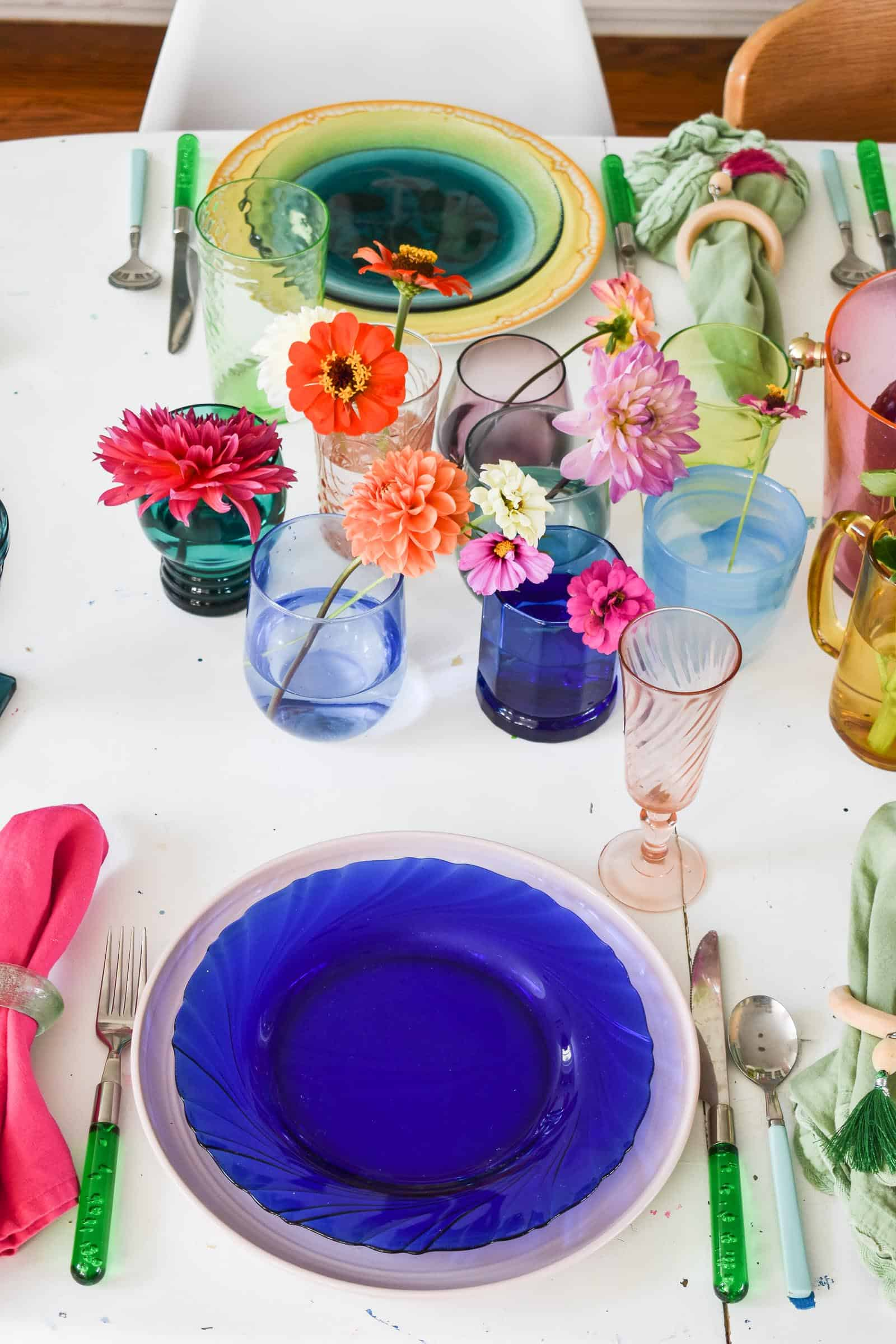 flowers in the middle of a colorful table