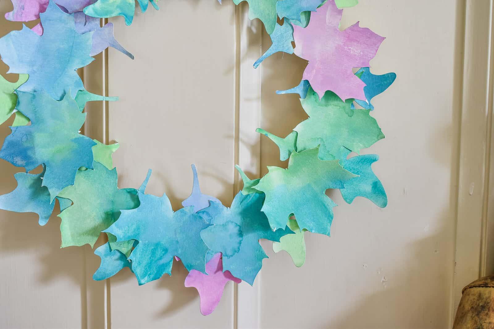 diy watercolor leaf wreath