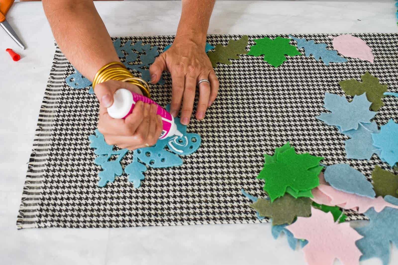 fabric glue to attach felt leaves