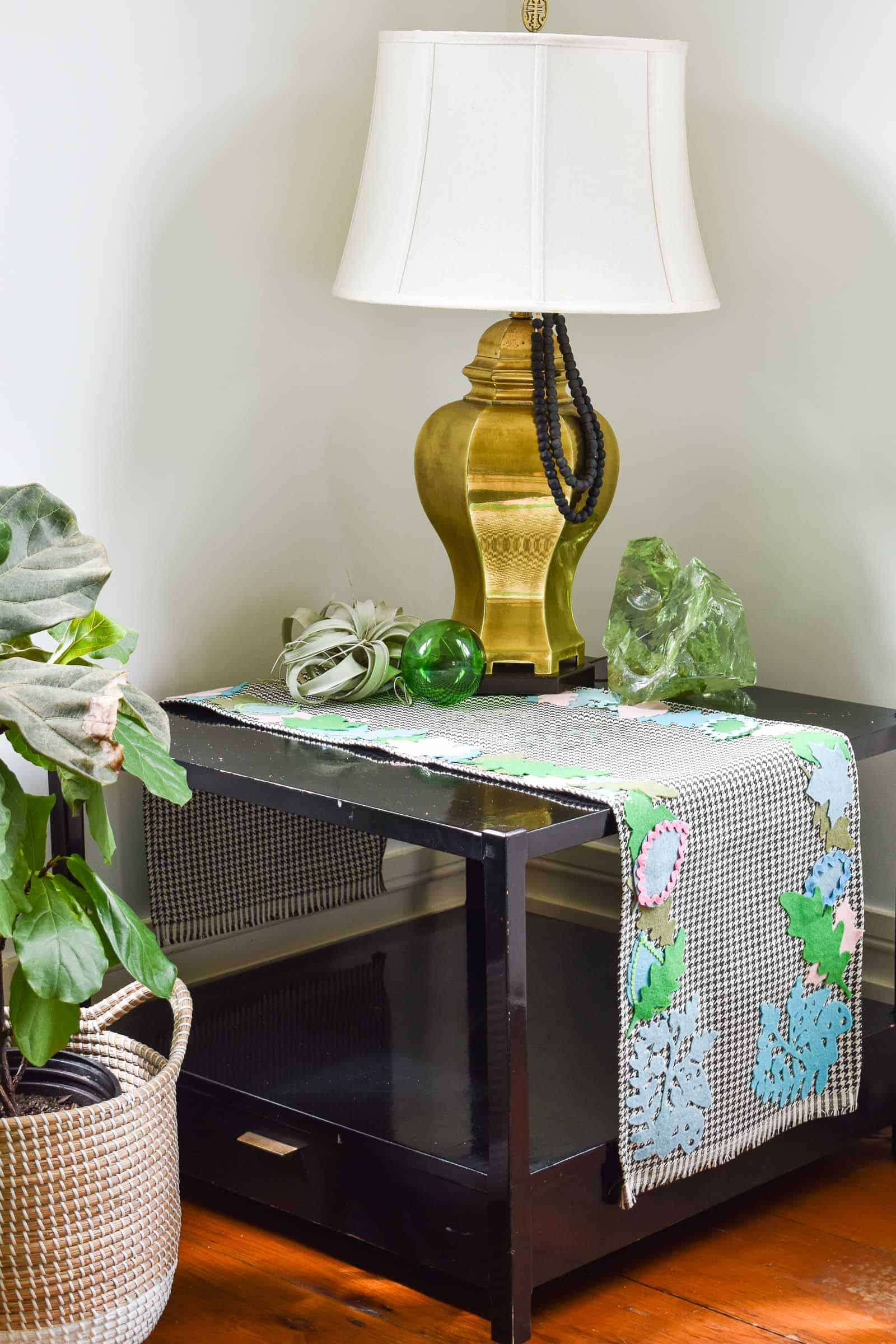 felt fabric table runner with felt leaves
