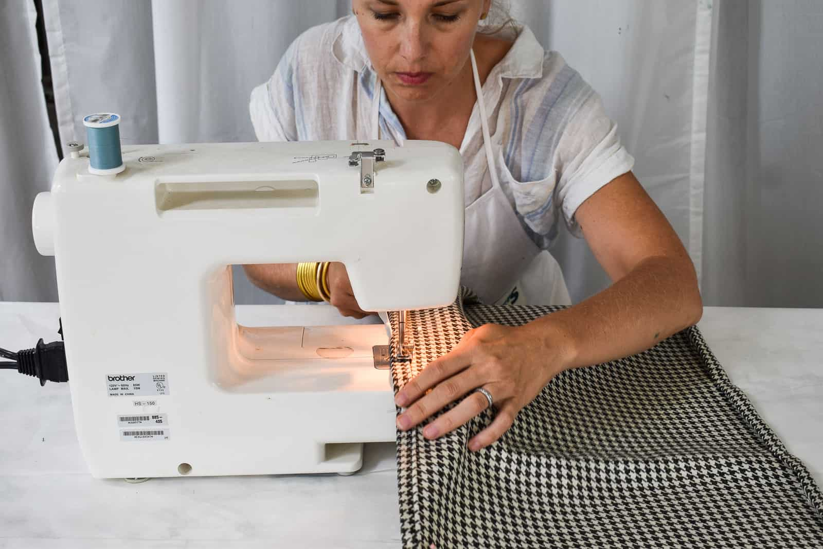 hemming the edge of the table runner fabric