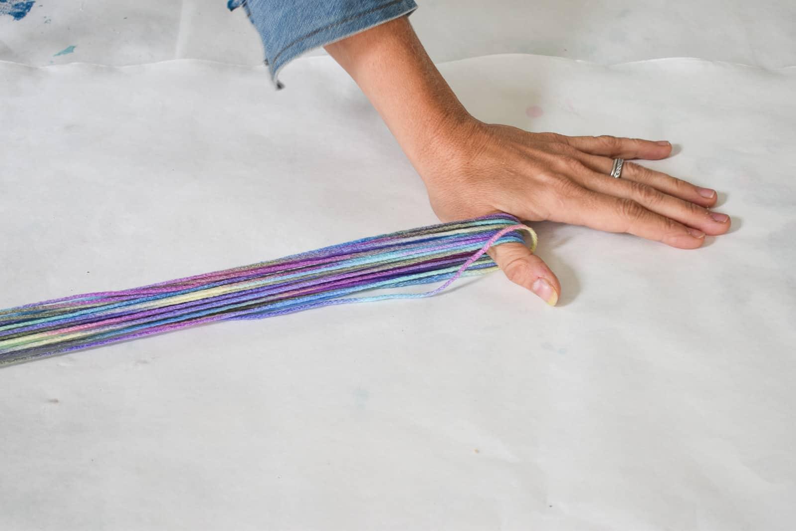 wind yarn to assemble unicorn tail