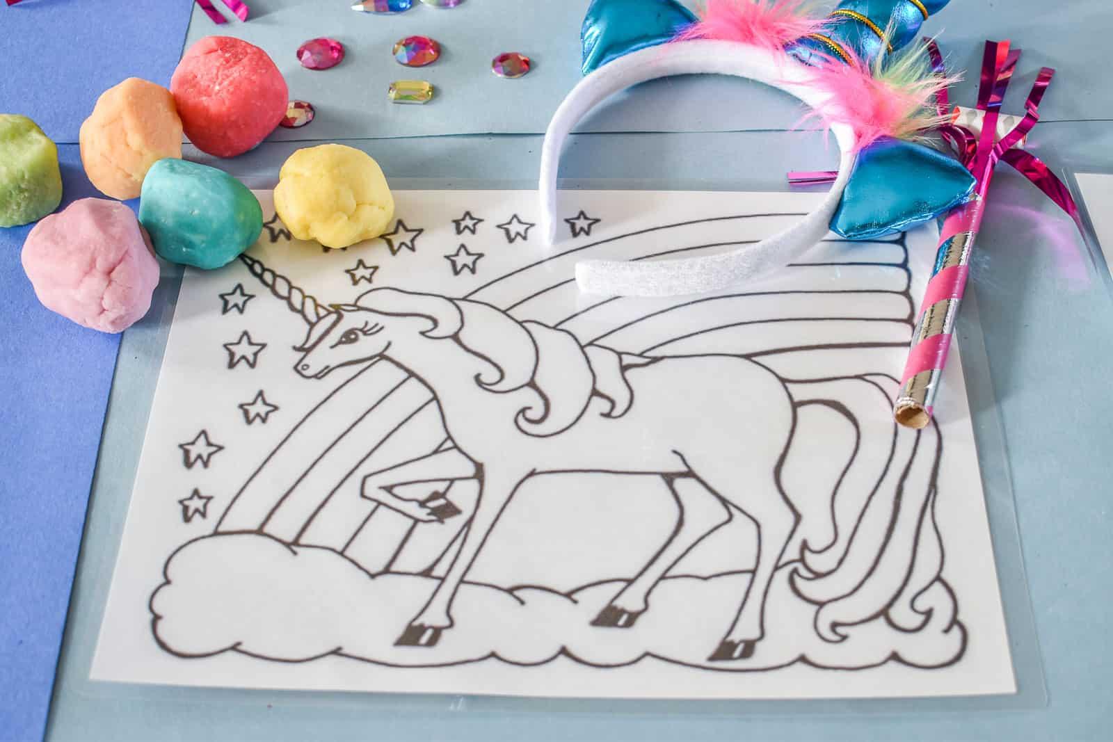 rainbow playdough and unicorn play dough mat