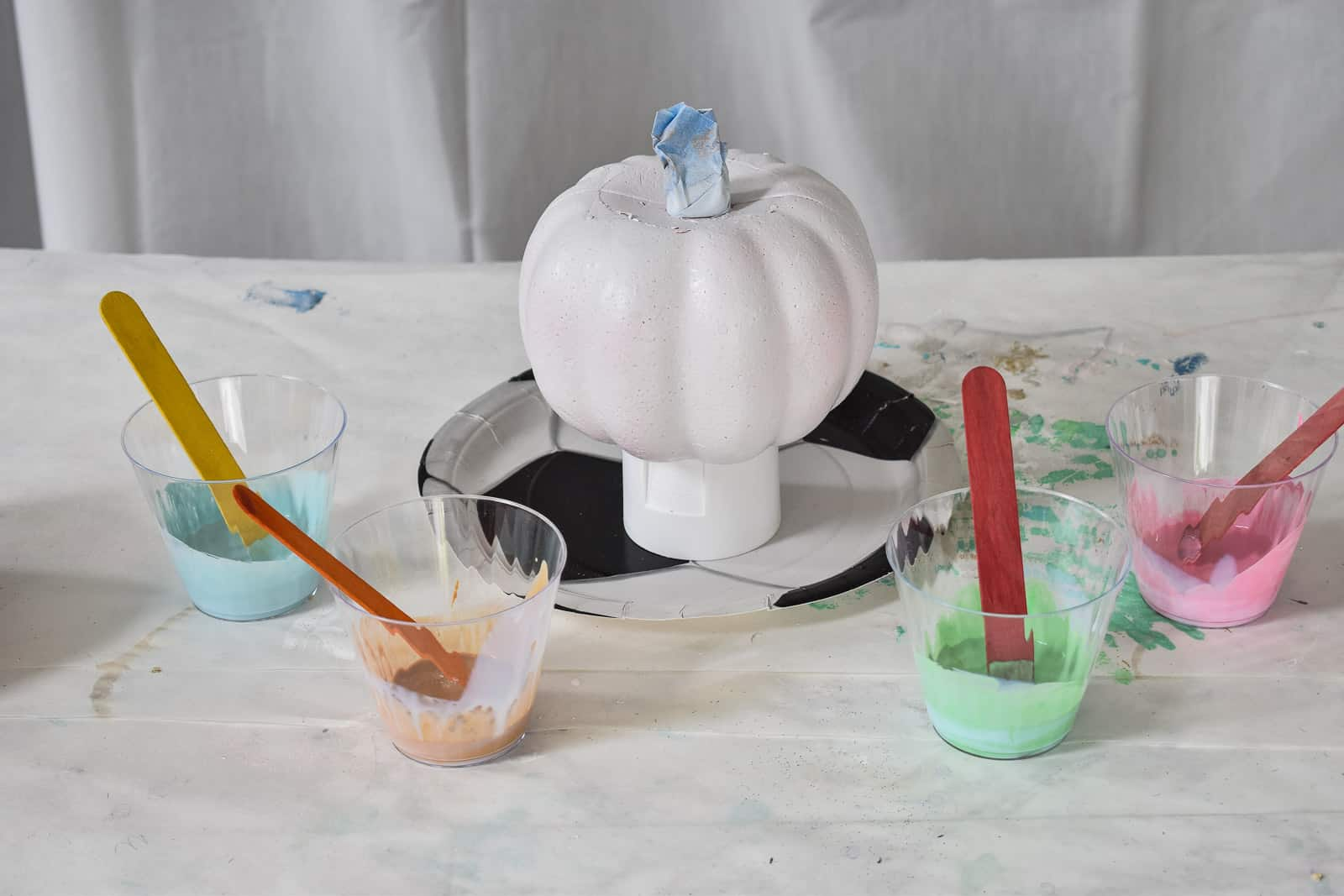make sure pumpkin is elevated above a disposable plate