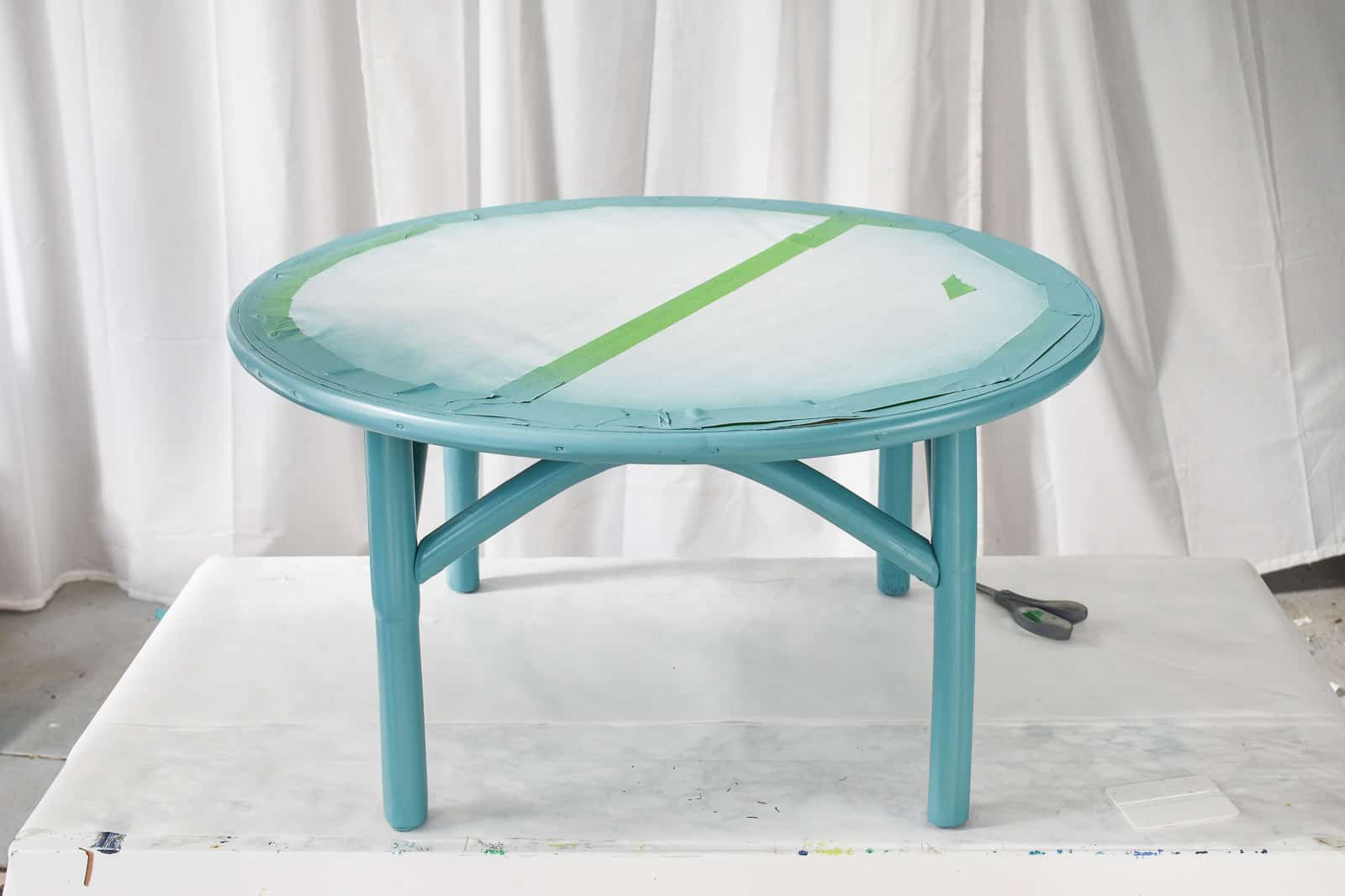 table with painted base