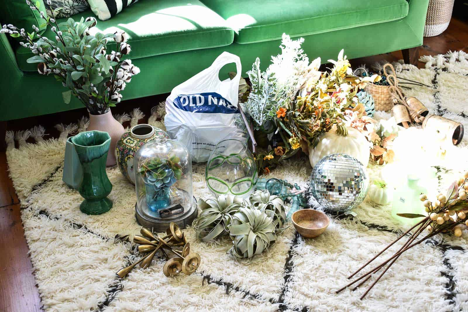 gather all the items that could work on the mantel
