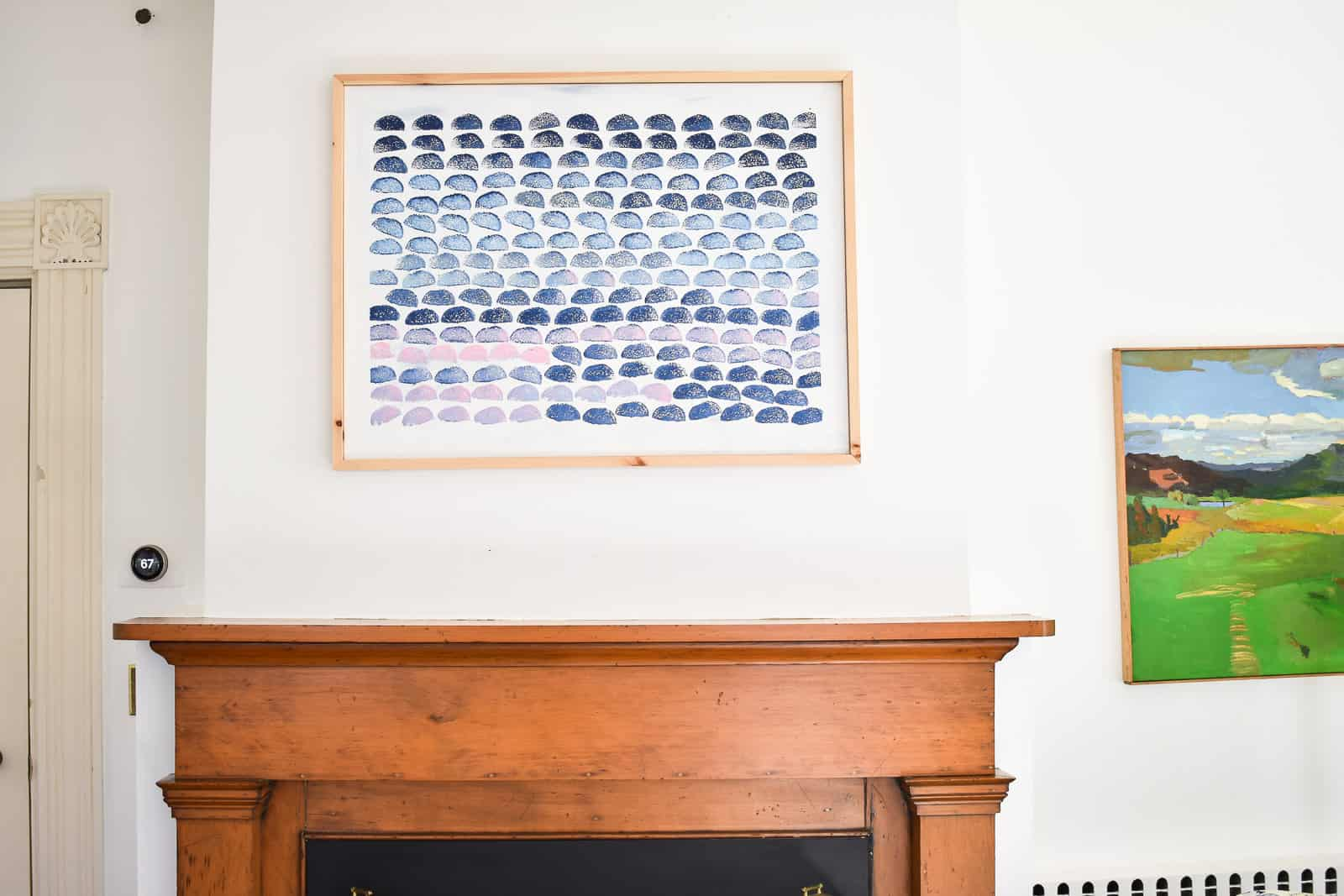 hanging one stamped painting