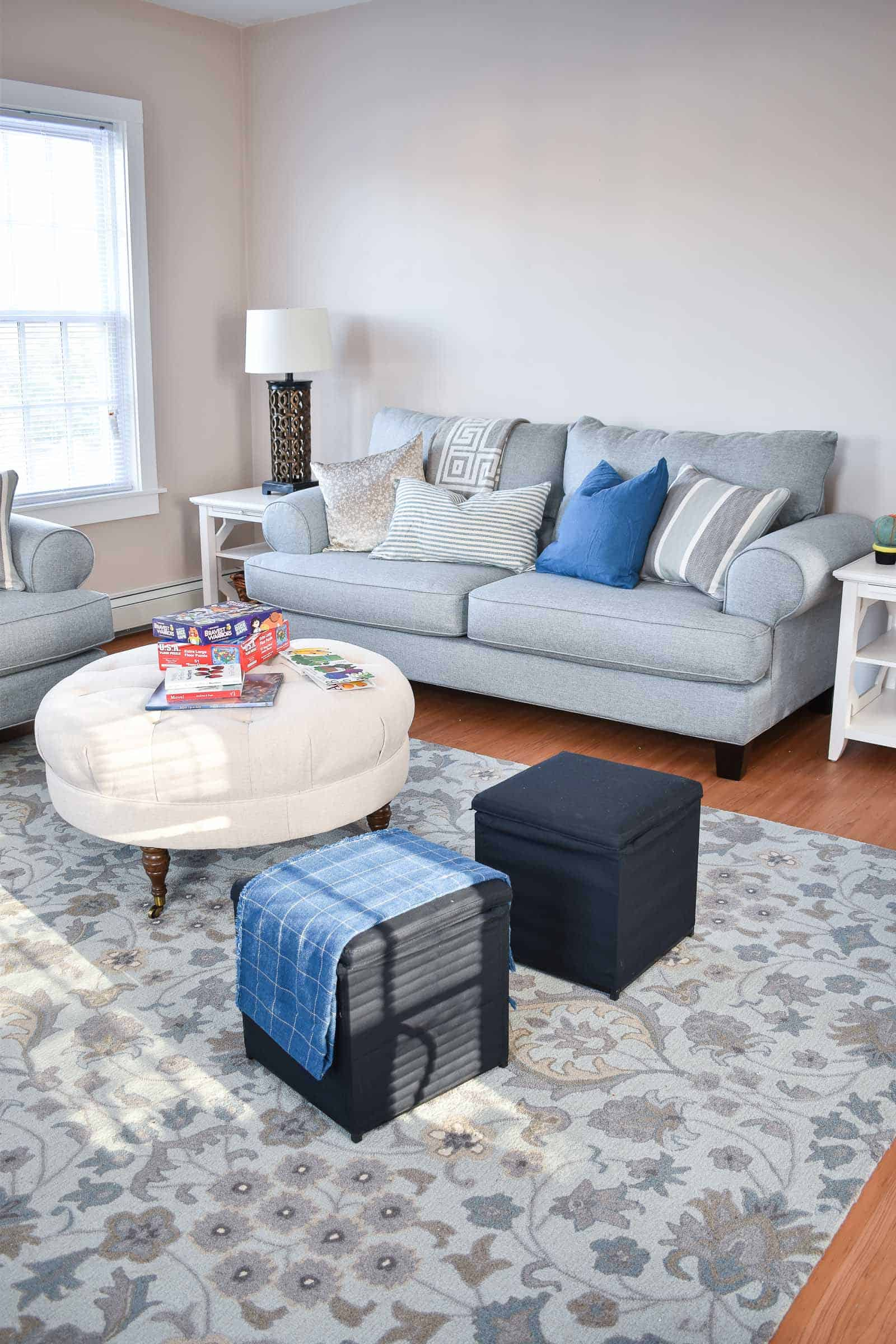 round ottoman in living room