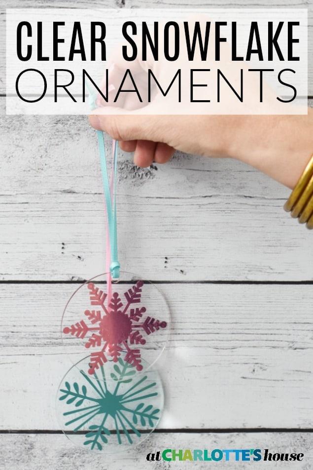 DIY clear snowflake ornaments
