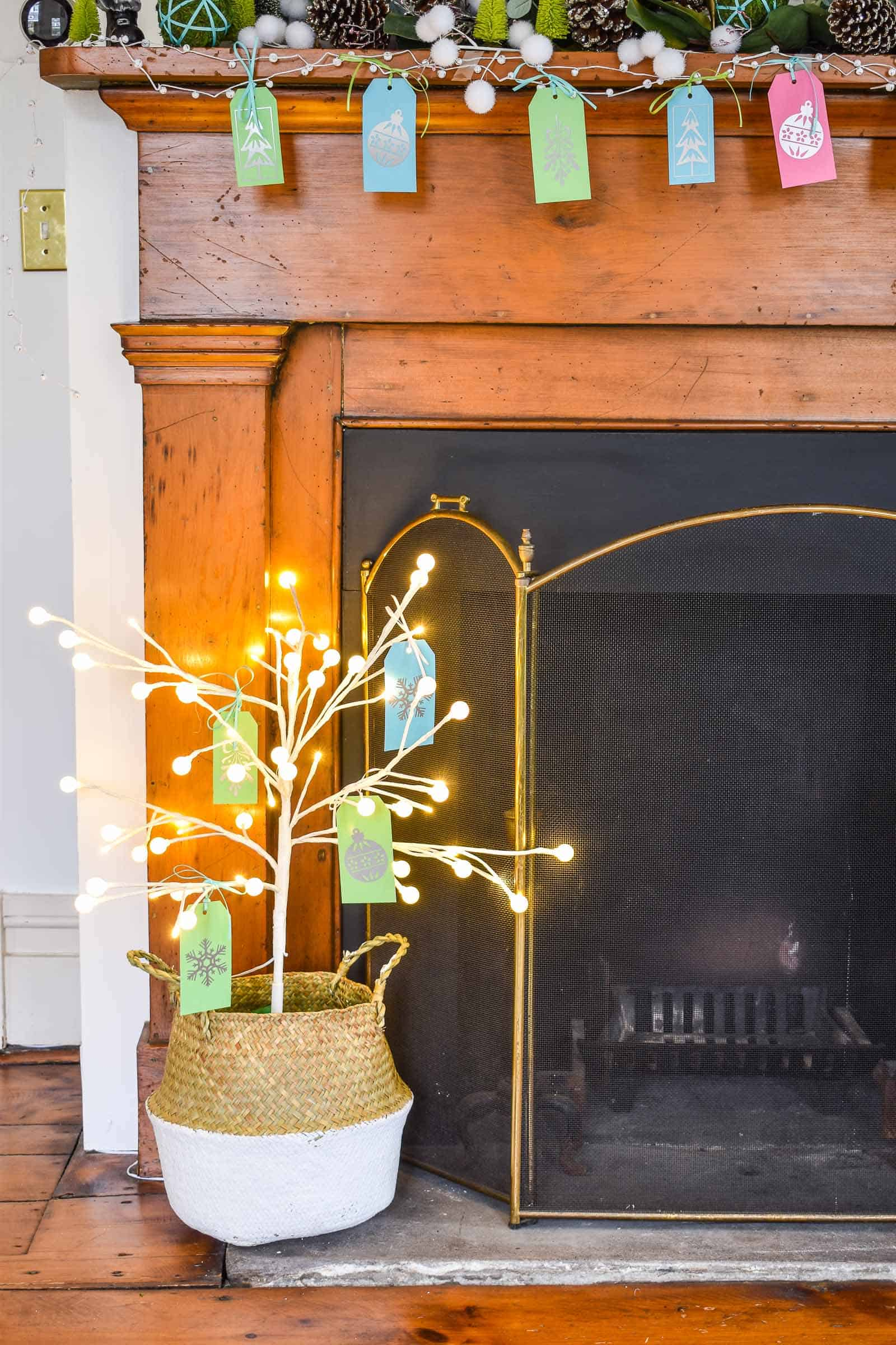 LED tree at the base of the mantel
