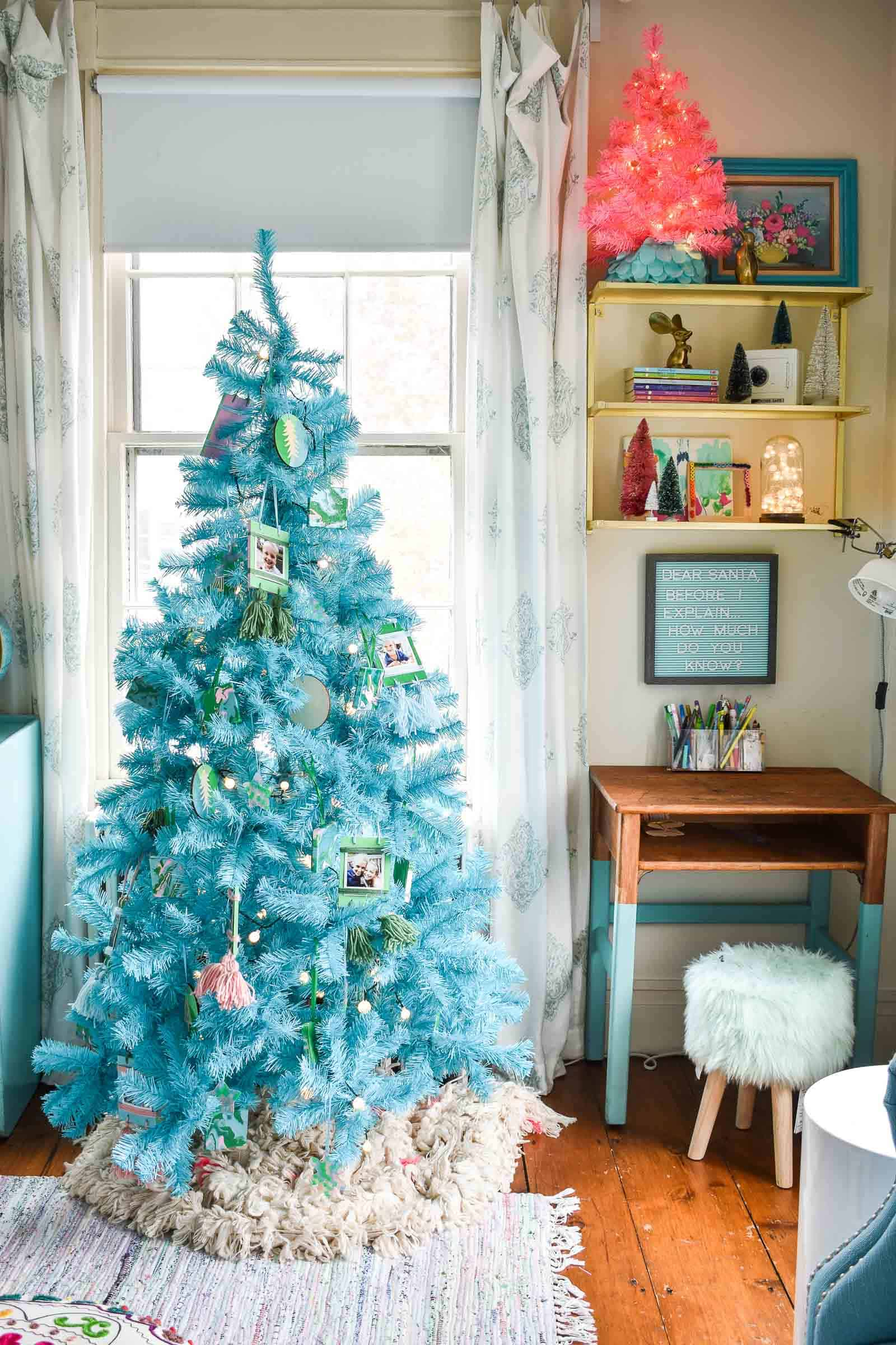 blue and pink christmas trees