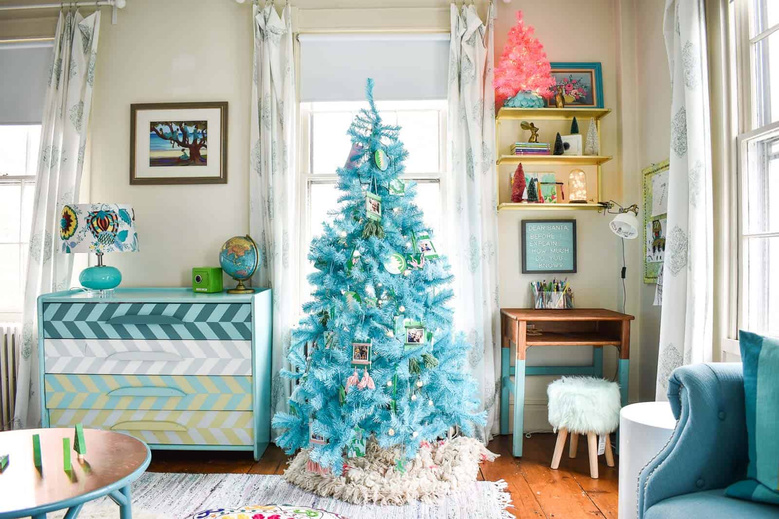 Colorful Christmas Tree Images.Kids Blue Christmas Tree At Charlotte S House