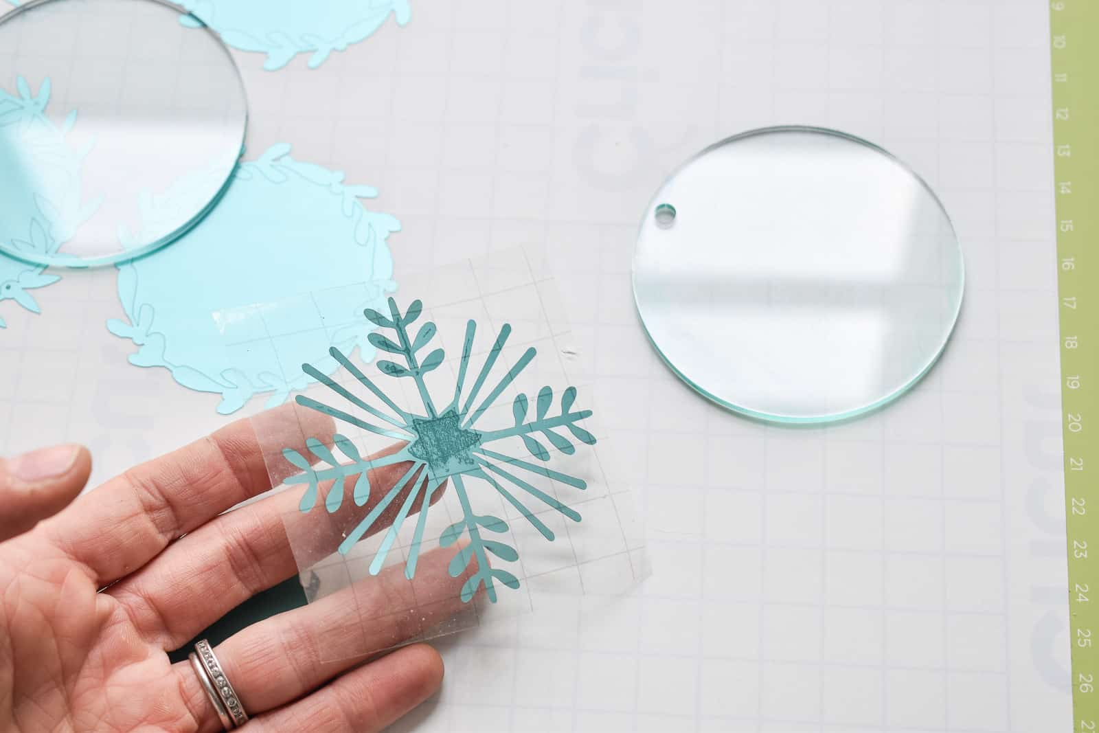 cricut snowflake on transfer tape