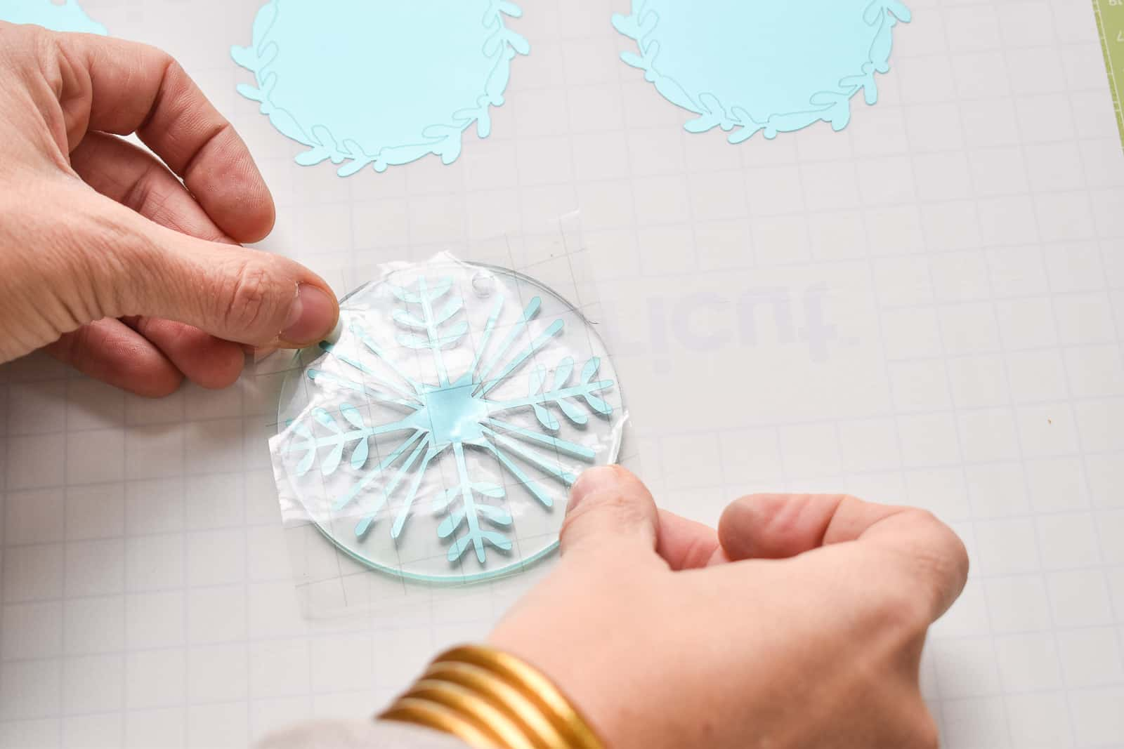 transfer snowflake to acrylic circle