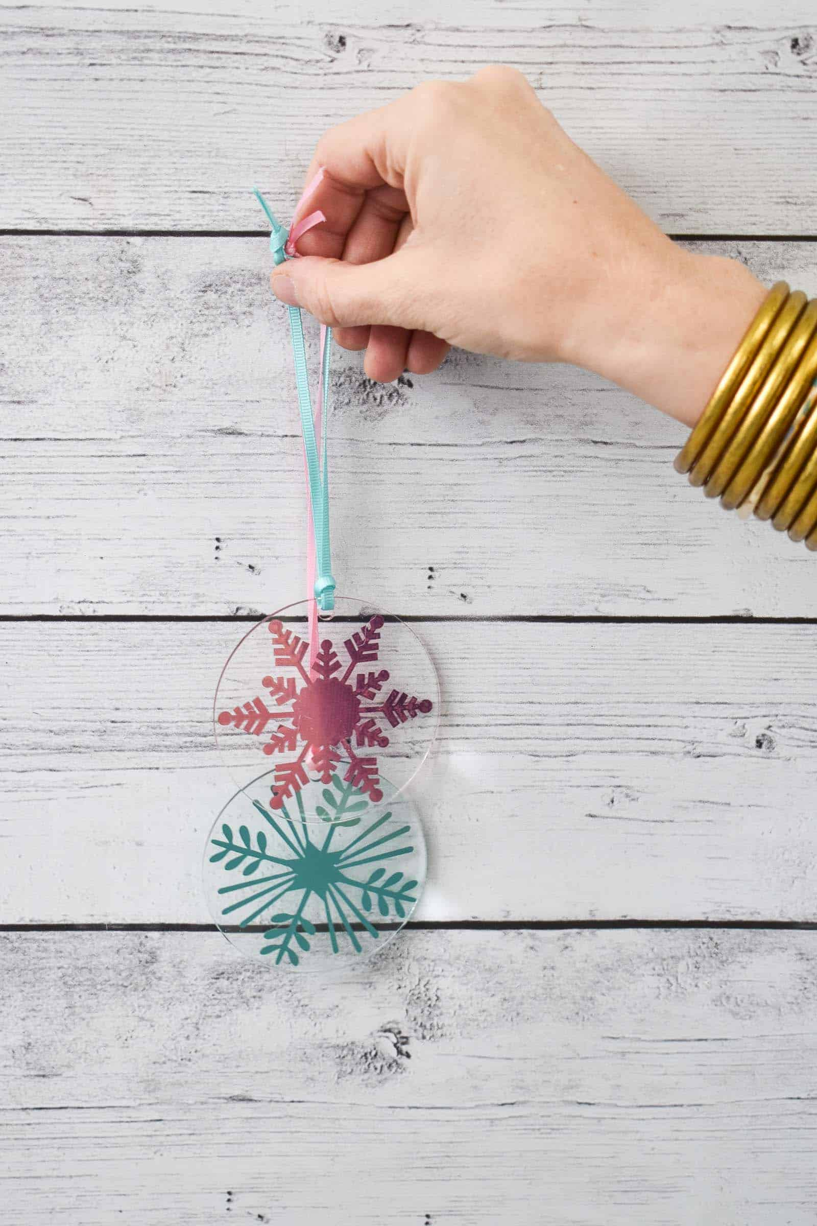 clear snowflake cricut ornaments