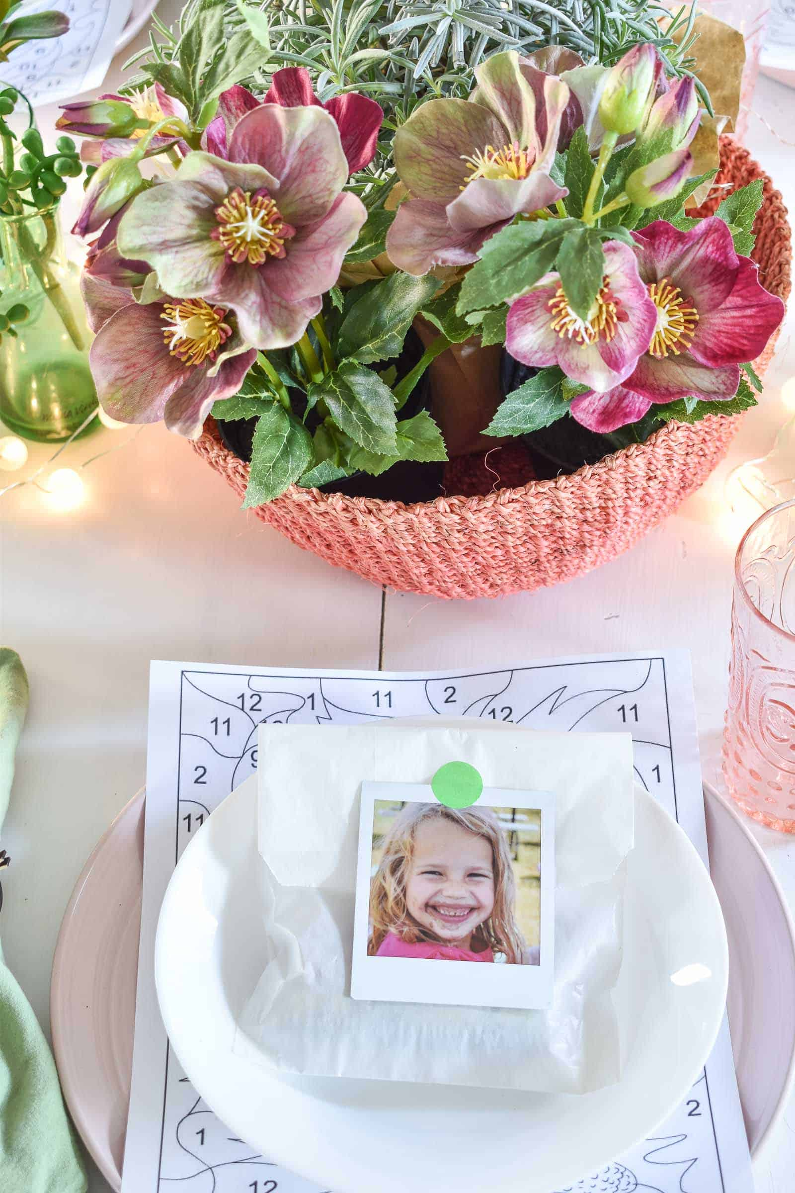 instax picture as place card