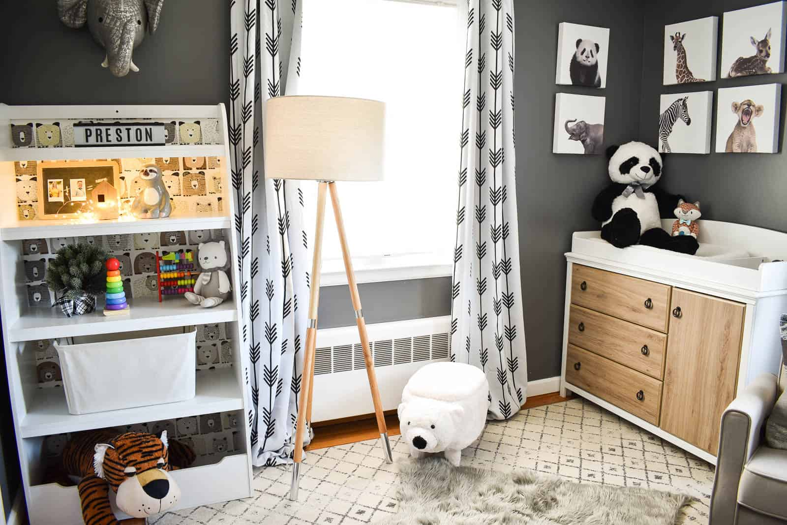 black geometric curtains in nursery