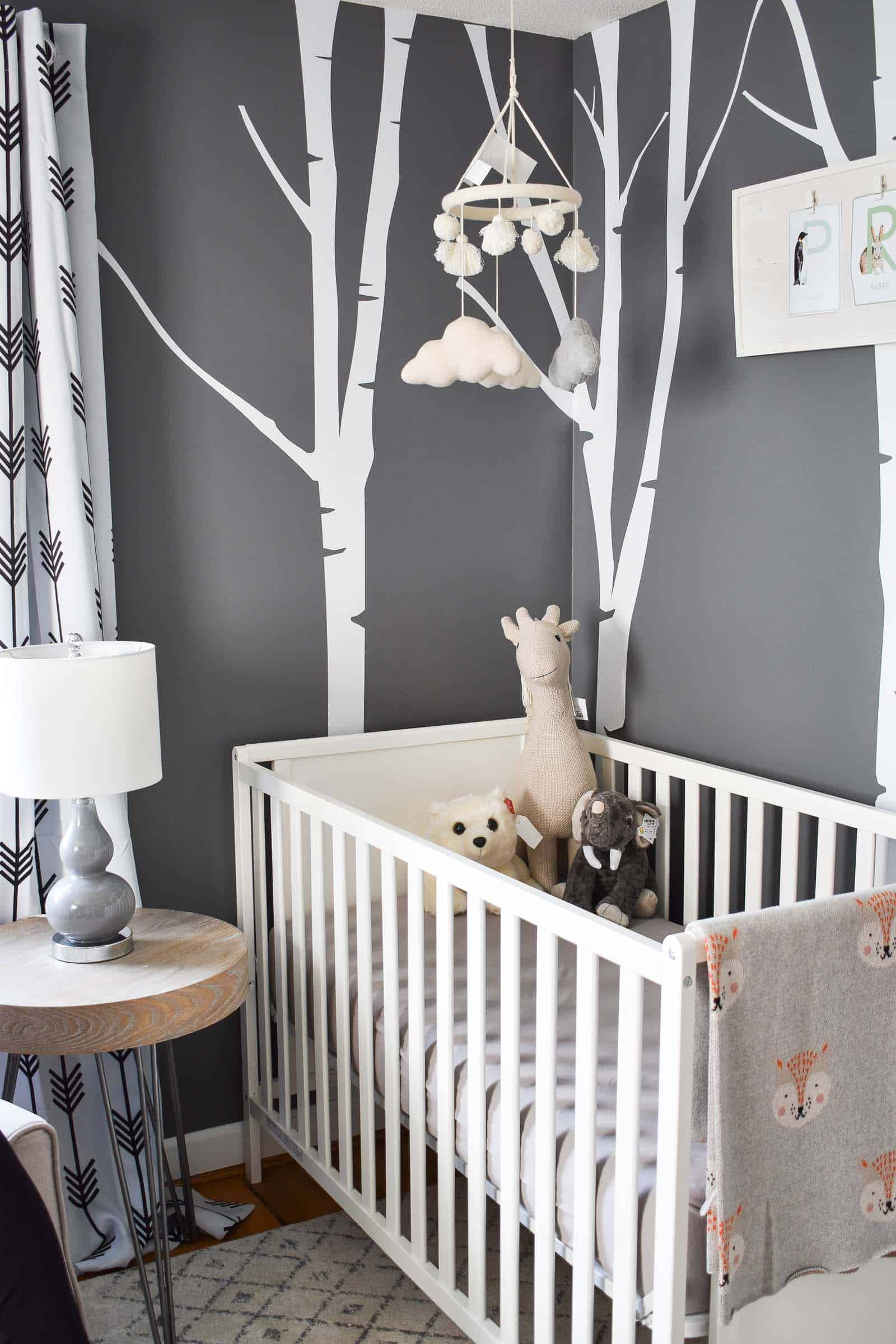 vinyl tree on nursery wall