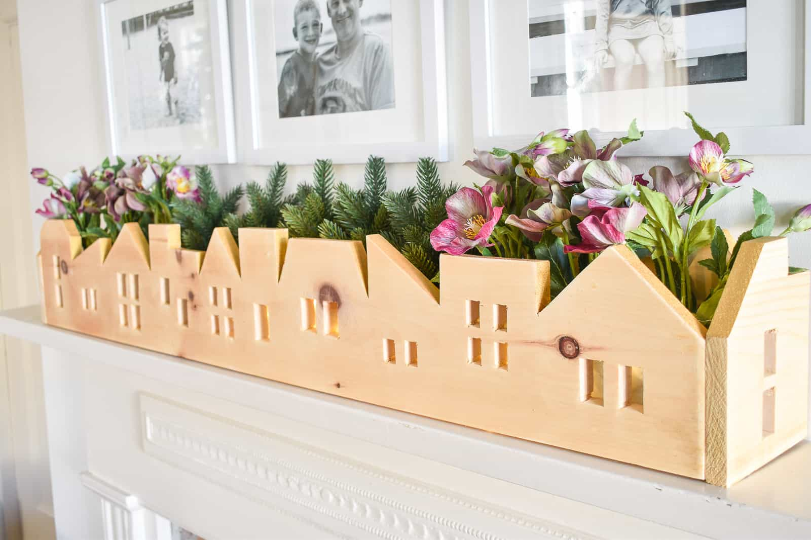 flowers in wooden skyline centerpiece