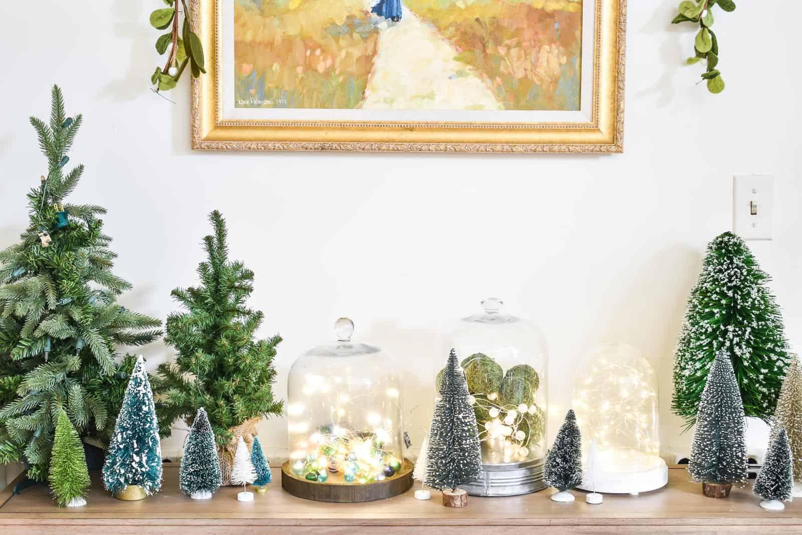 bell jars with christmas lights