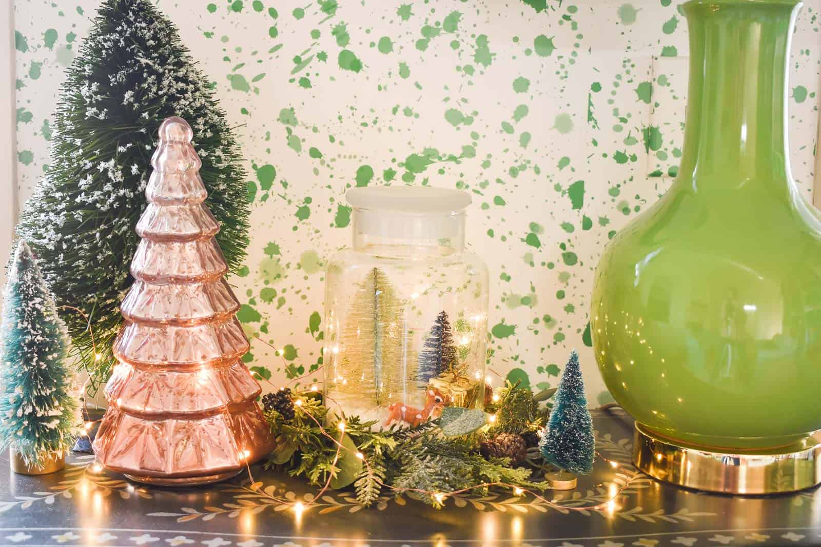 detail of christmas decor in playroom