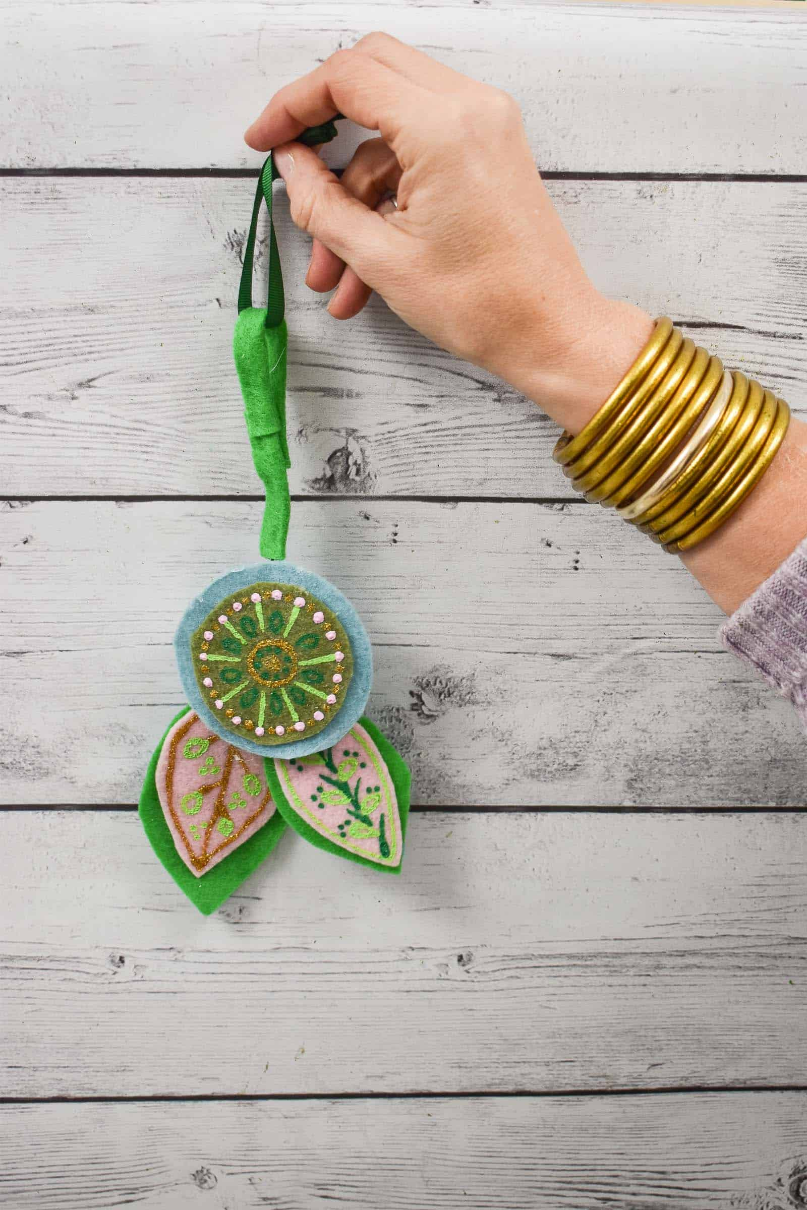 hand painted felt floral ornaments