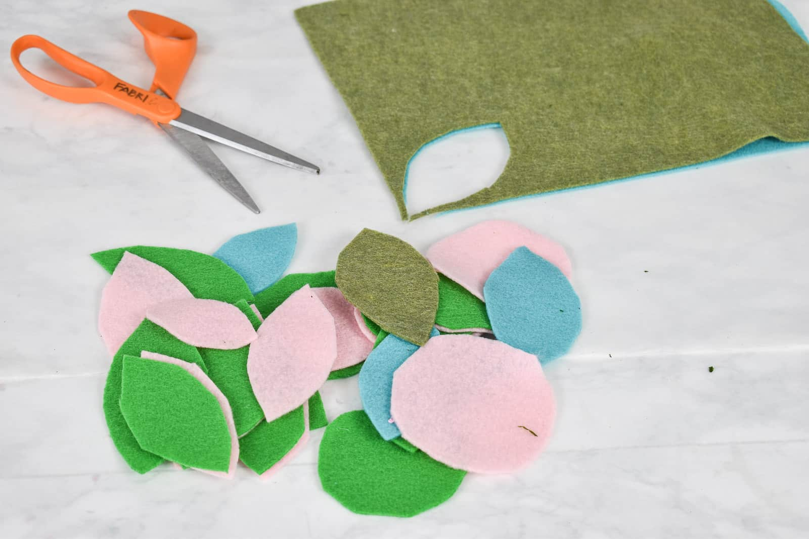 cut felt into leaves and circles