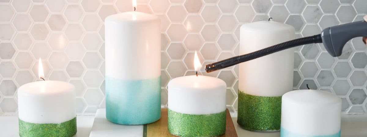 Easy Glitter Dipped Candles