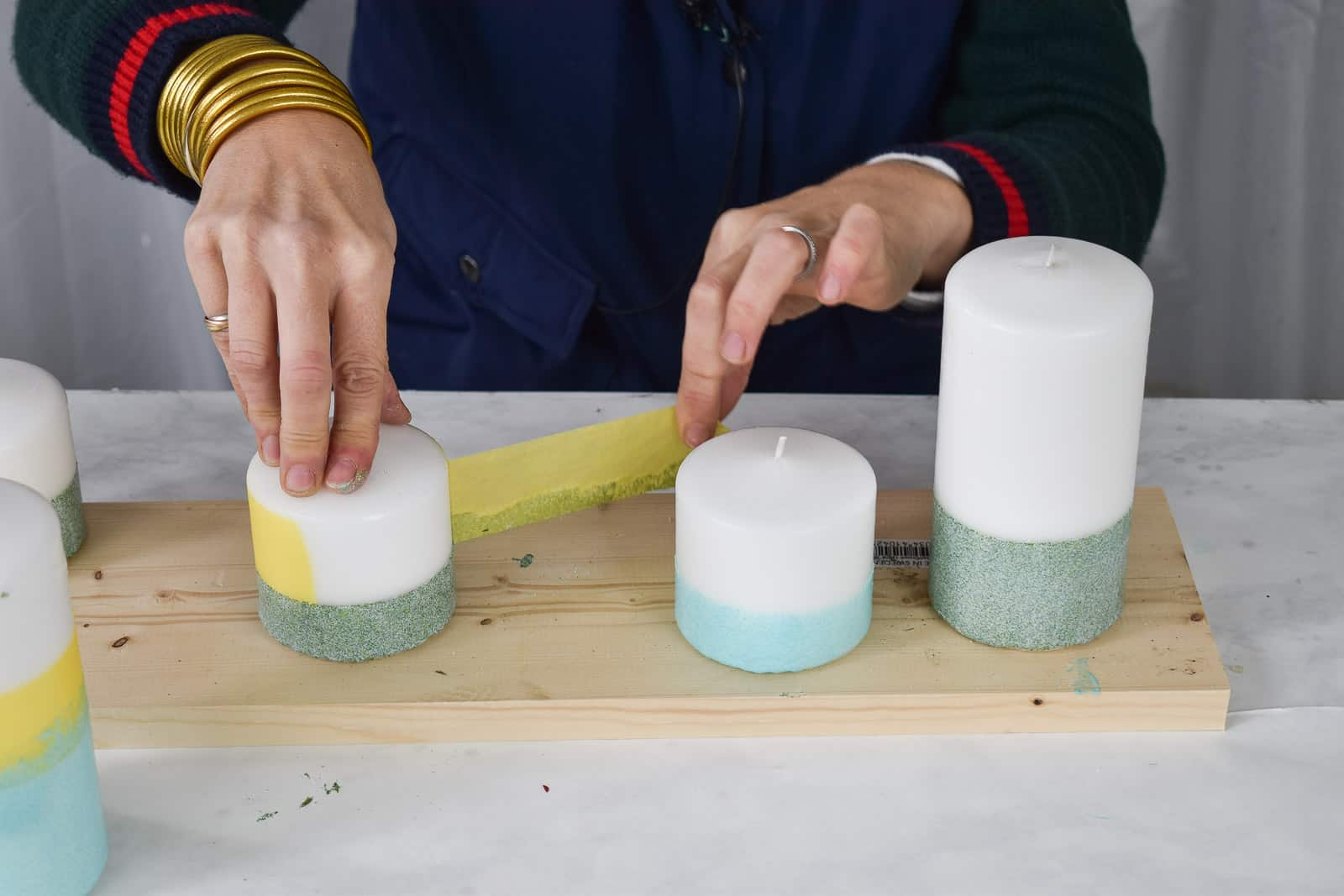 remove the tape from the candle
